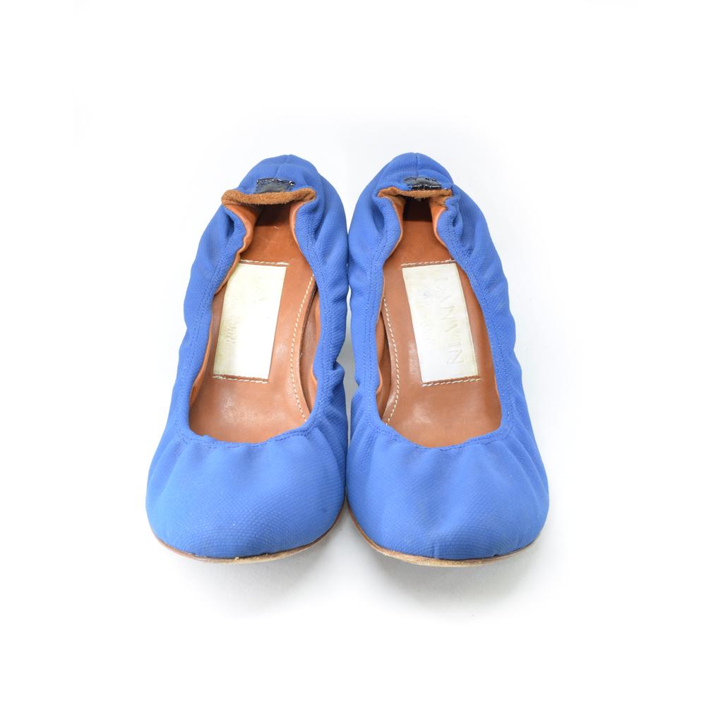 Lanvin Blue Leather Ballerina Heels Front Amp Company