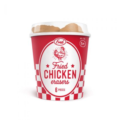 Add an entertaining addition to your deskspace with Fred's 6-piece bucket of fried chicken erasers.