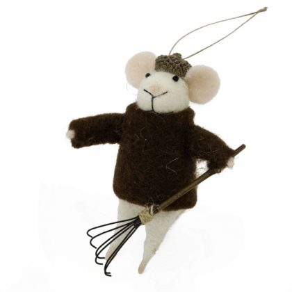 Indaba Raking Roy Felt Mouse Ornament