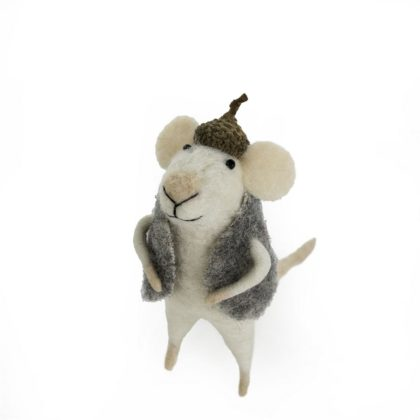 Indaba Harry Squeaks Felt Mouse Ornament