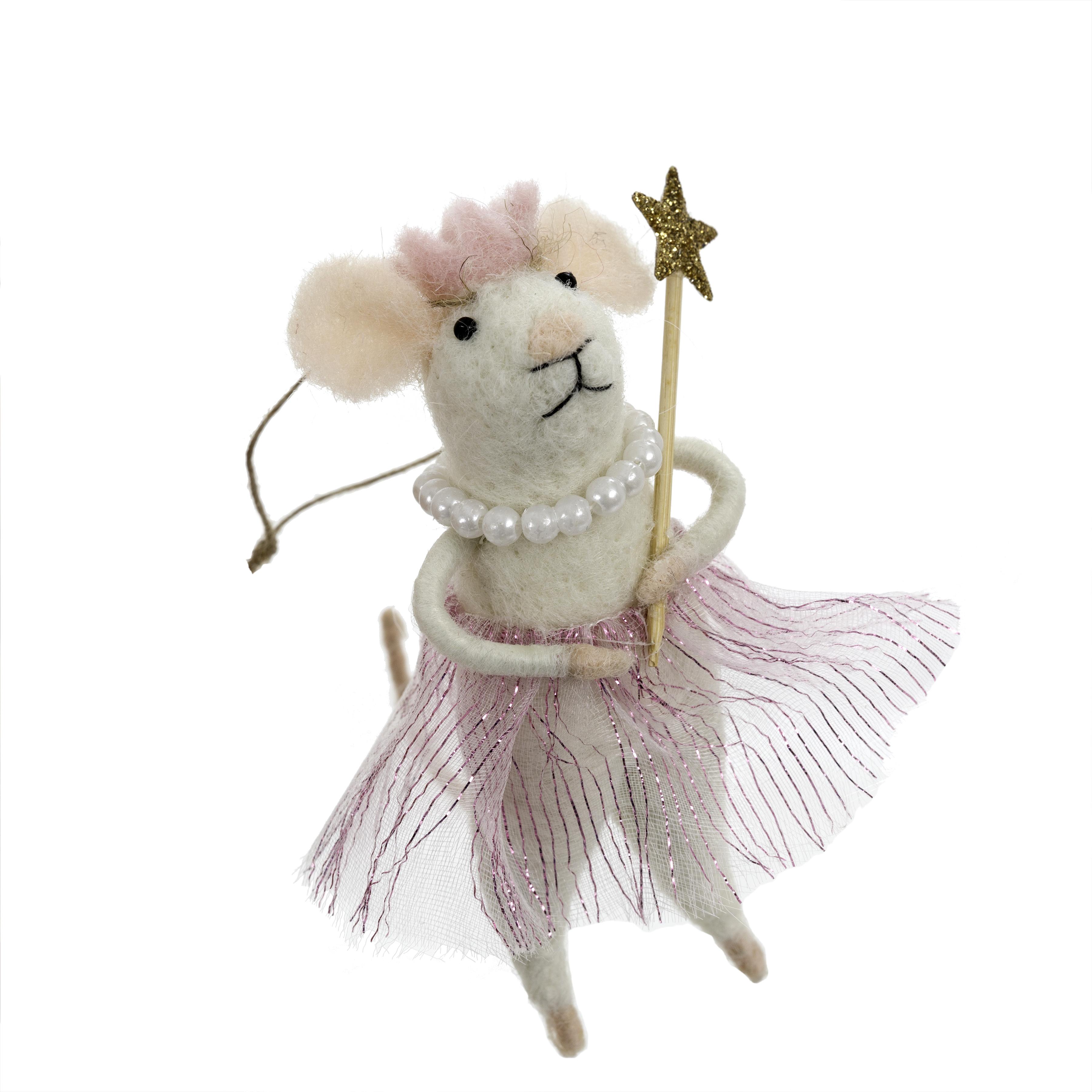 Indaba Princess Pearl Felt Mouse Ornament