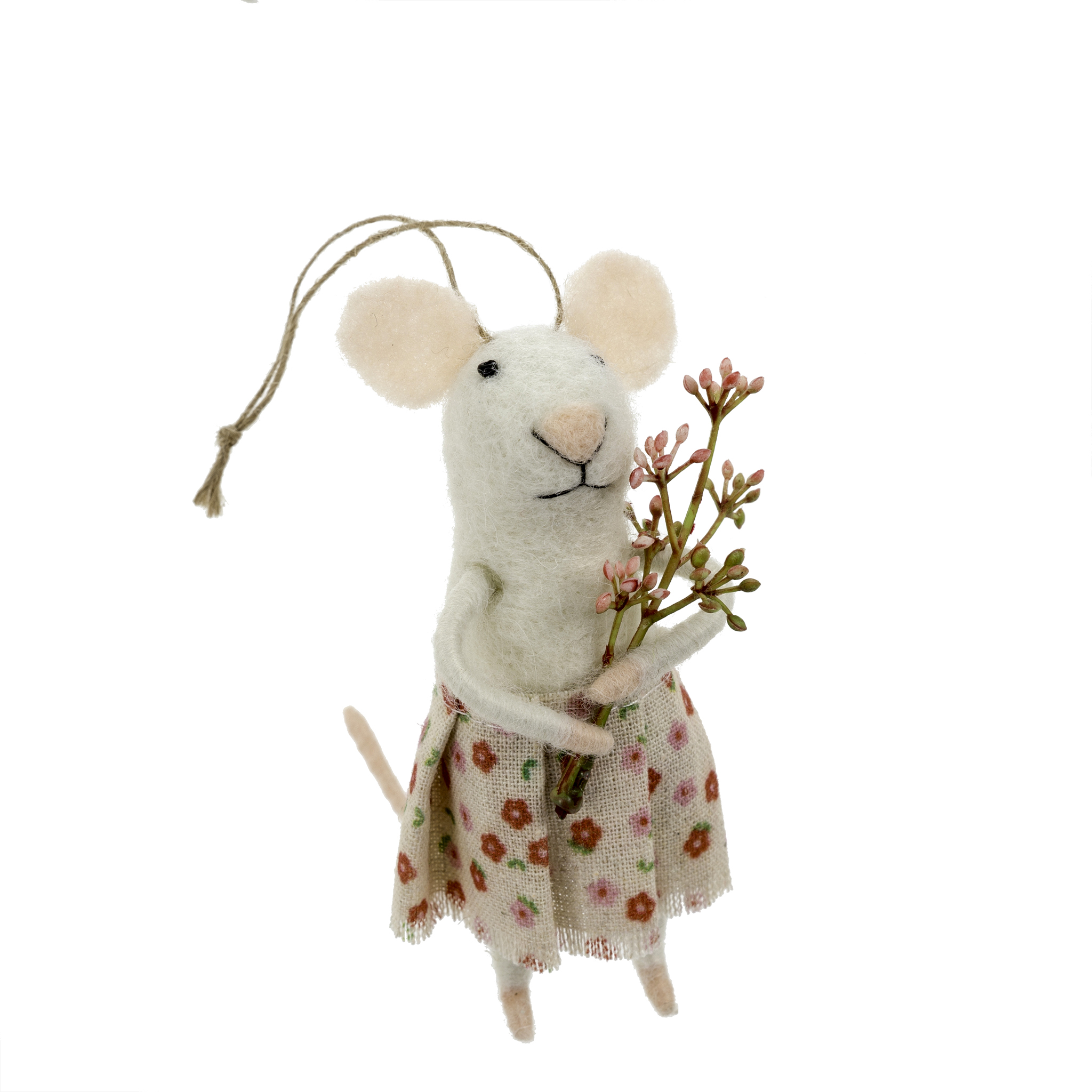 Indaba Posy Felt Mouse Ornament