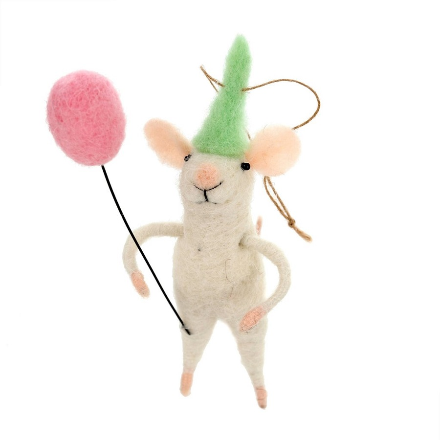 Indaba Party Patrice Felt Mouse Ornament