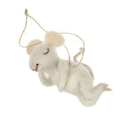 Indaba Snoozing Sid Mini Felt Mouse Ornament