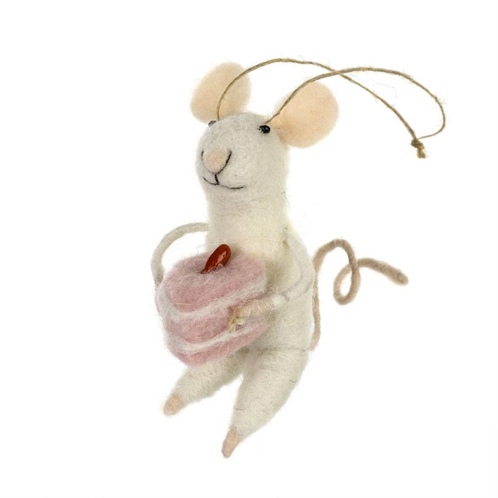 Indaba Baking Bonnie Felt Mouse Ornament