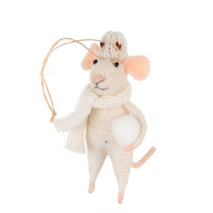 Indaba Snowball Stewart Felt Mouse Ornament