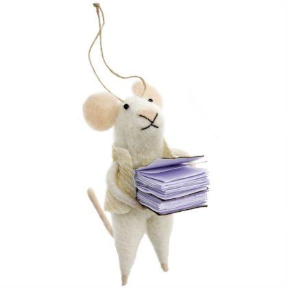 Indaba Bookworm Bob Felt Mouse Ornament