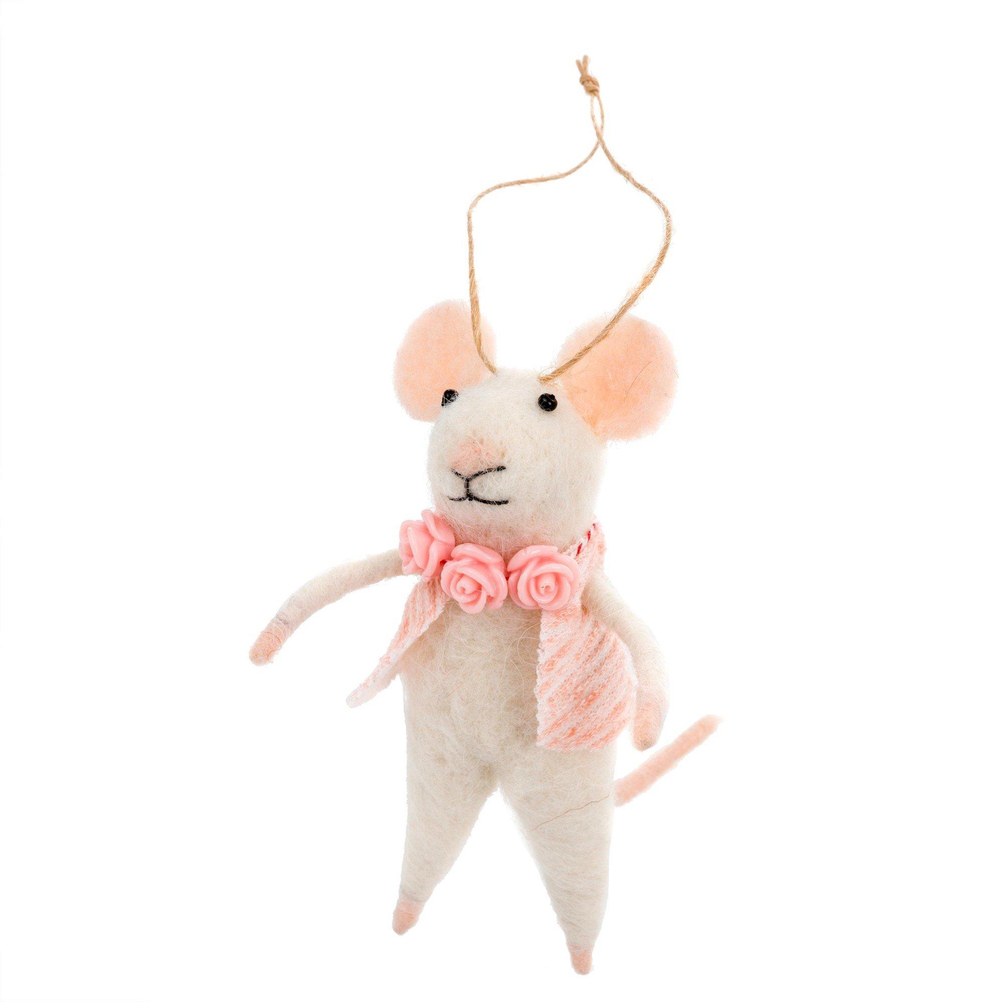 Indaba Primrose Felt Mouse Ornament