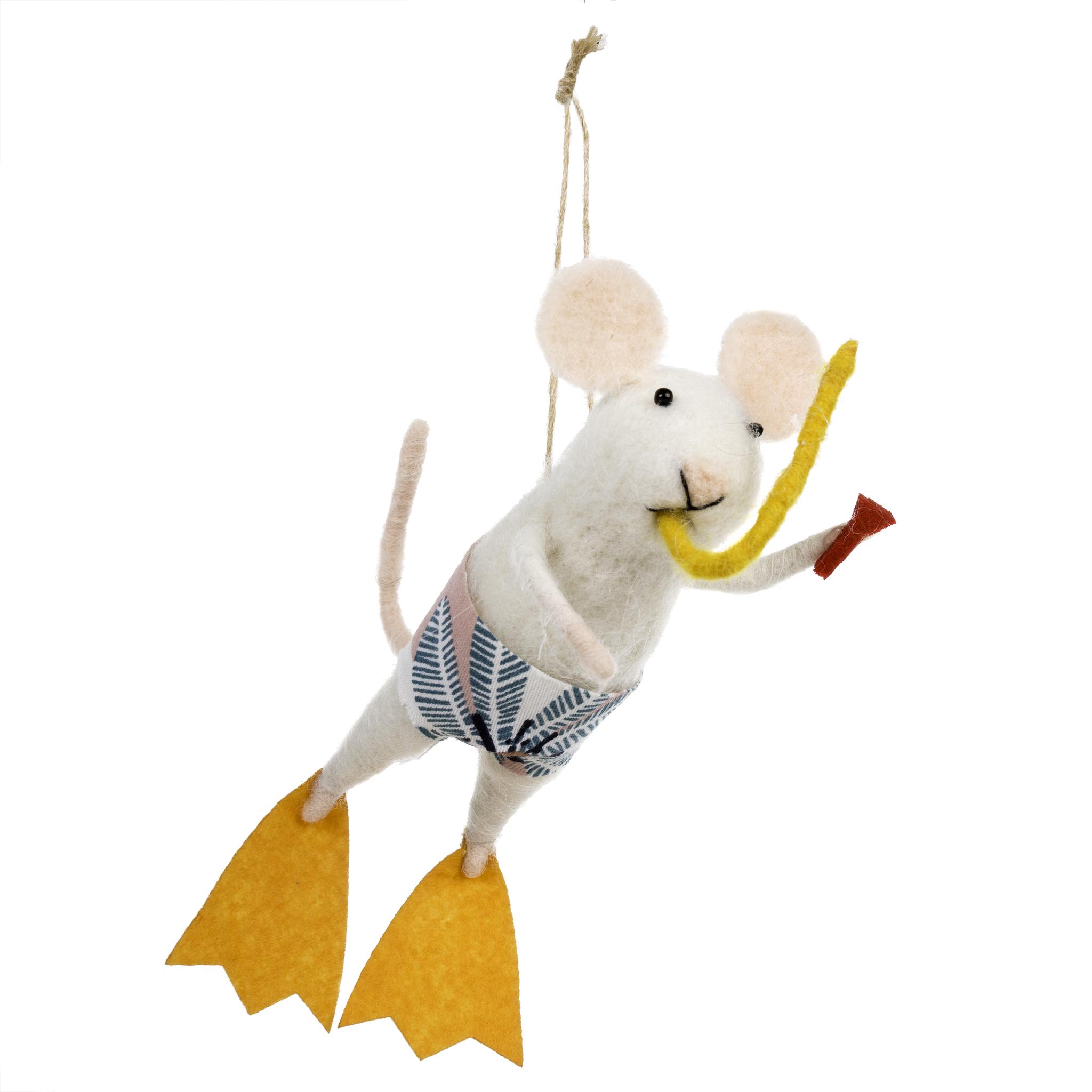 Indaba Scuba Steve Felt Mouse Ornament