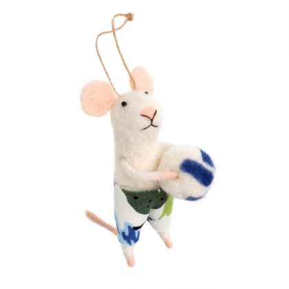 Indaba Volleyball Vince Felt Mouse Ornament