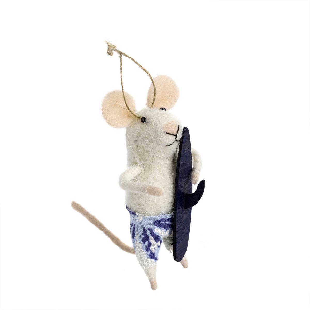 Indaba Surf's Up Sal Felt MouseOrnament