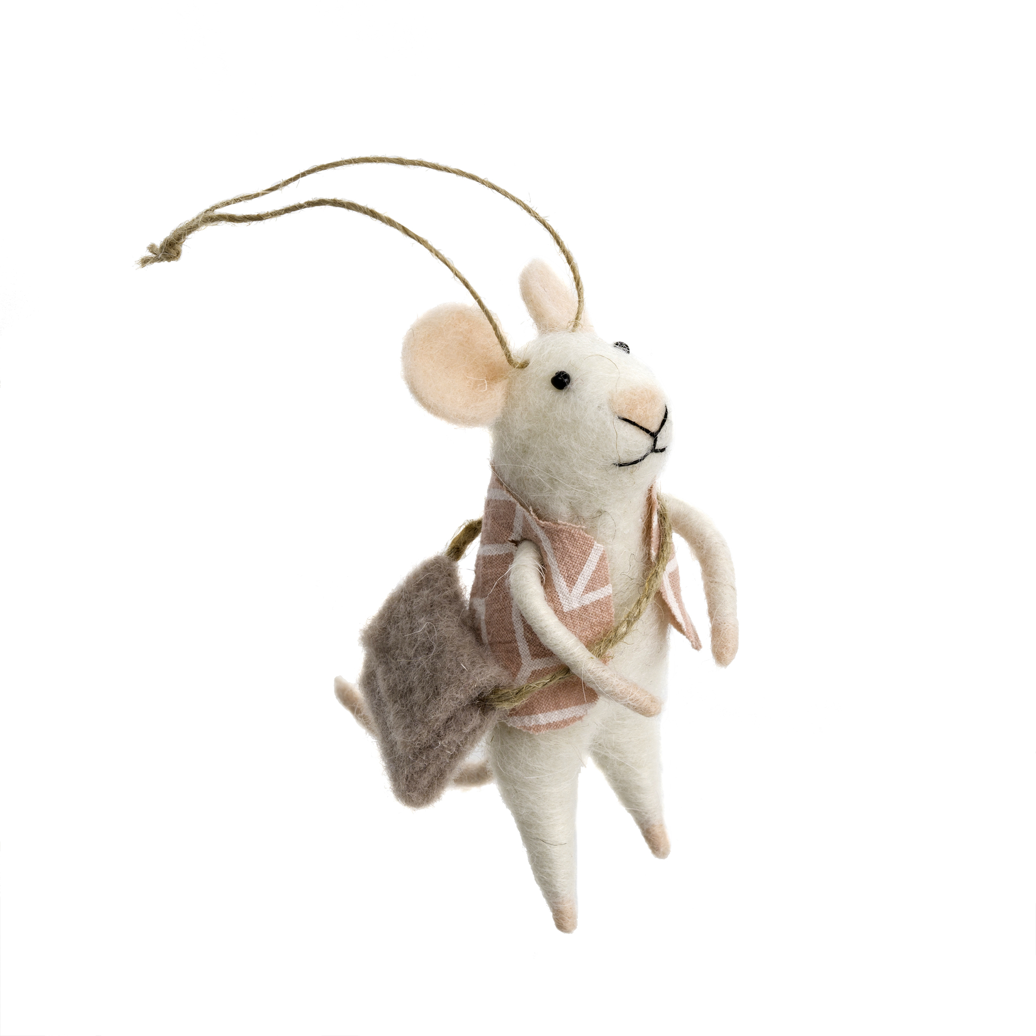 Indaba Wandering Will Felt Mouse Ornament