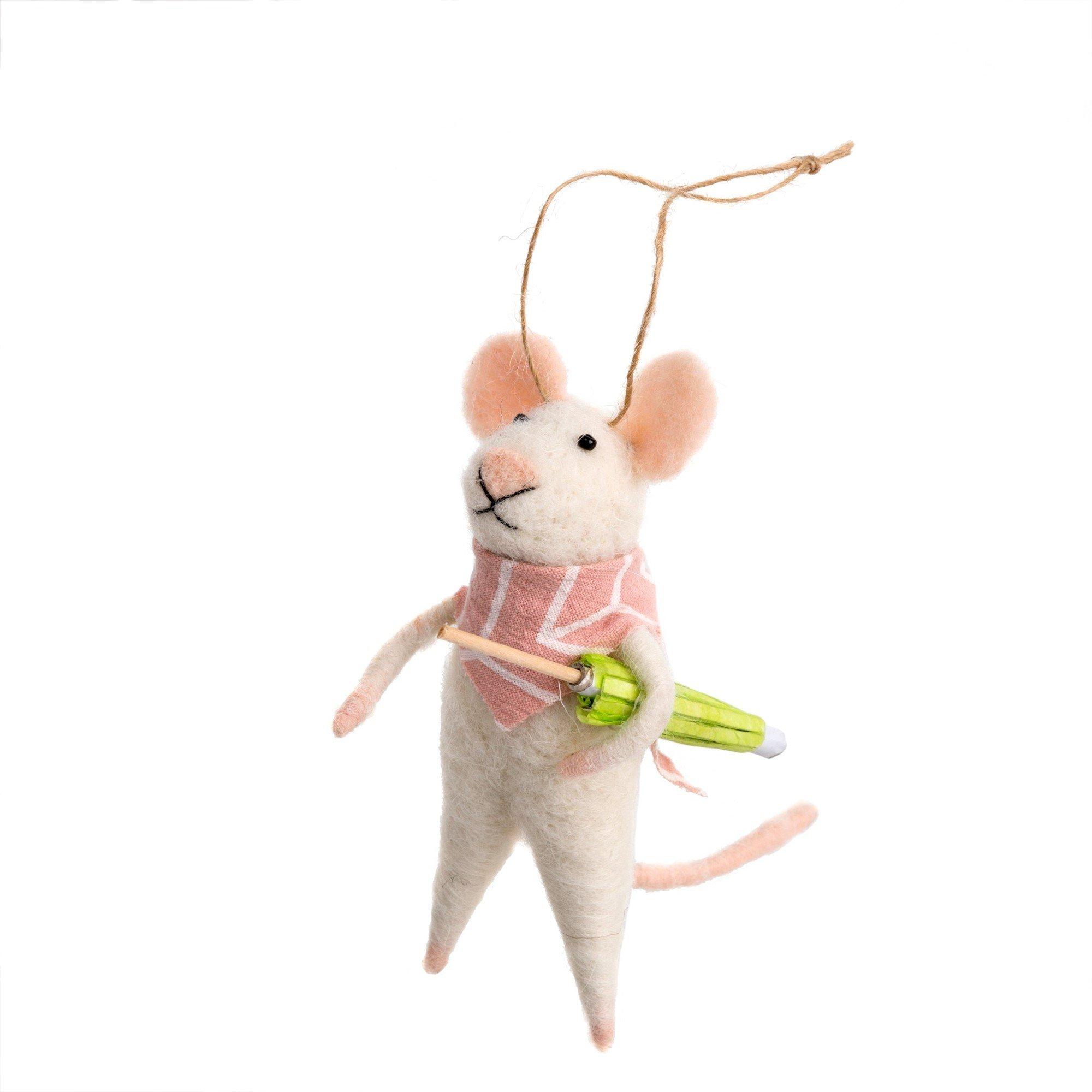 Indaba Bandana Bandit Felt Mouse Ornament