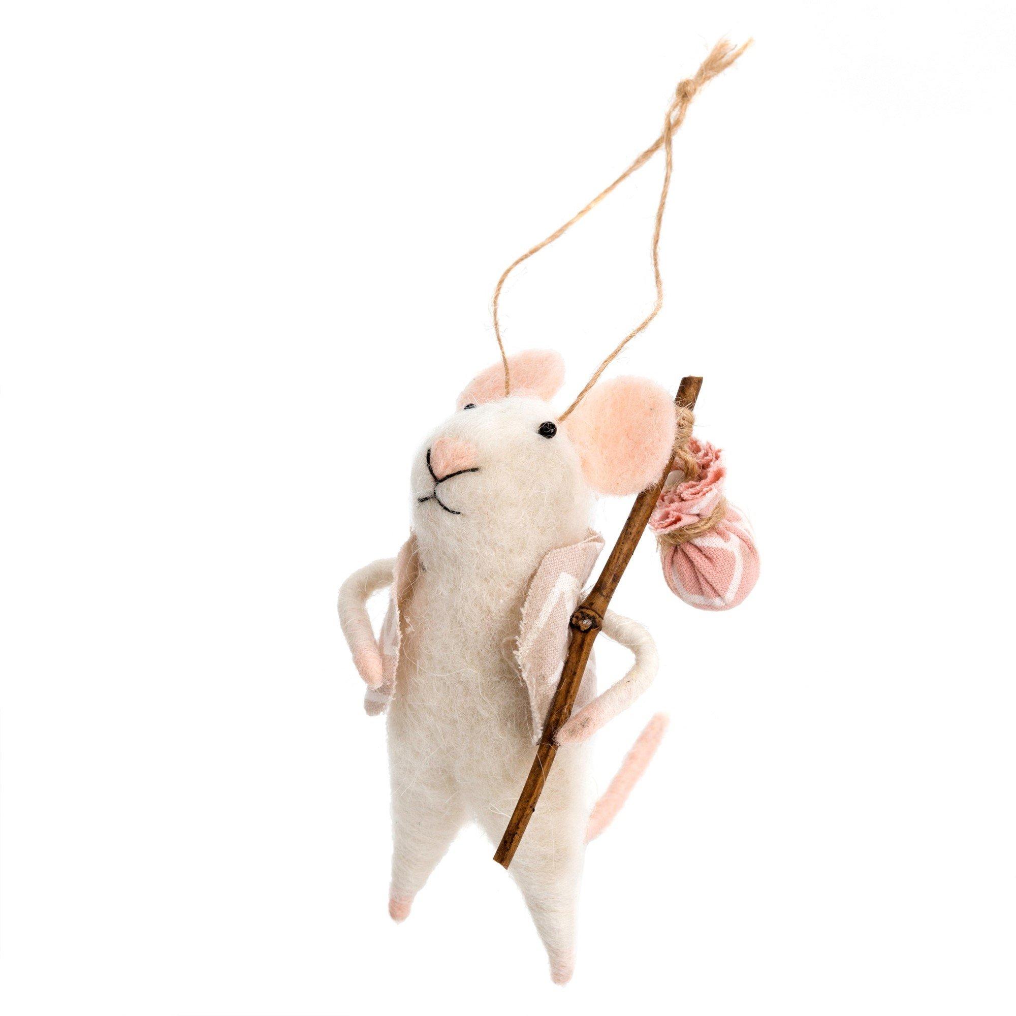 Indaba Nomad Nick Felt Mouse Ornament