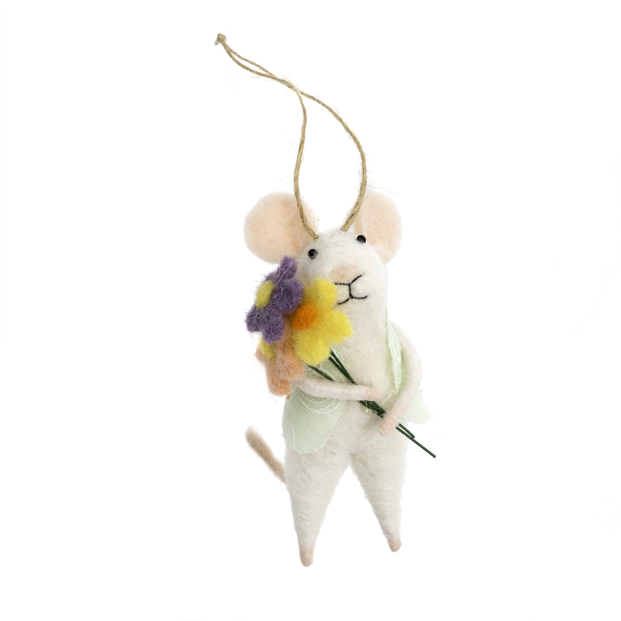 Indaba Bouquet Betty Felt Mouse Ornament