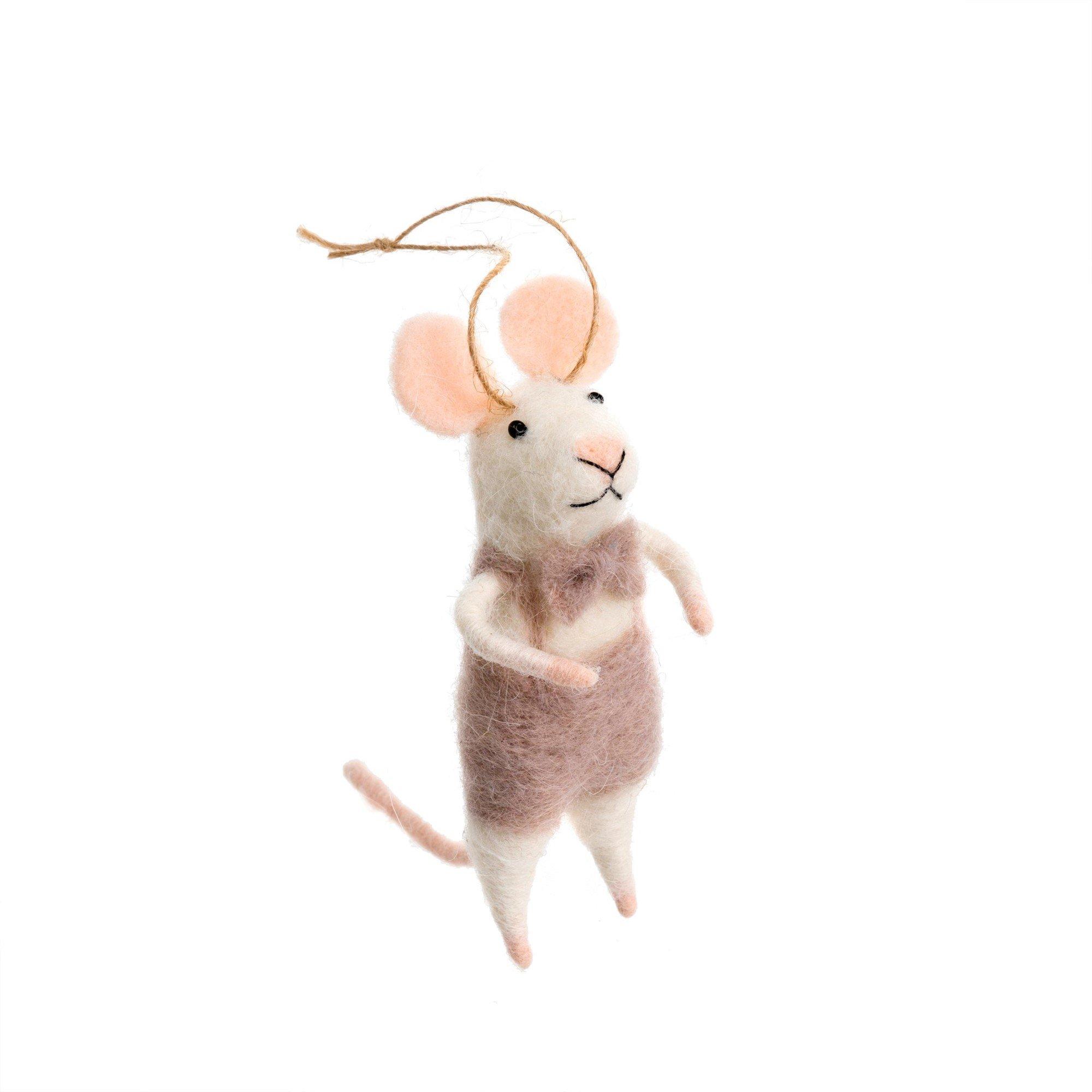 Indaba Monsieur Felt Mouse Ornament