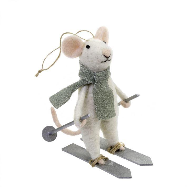 Indaba Downhill Dennis Felt Mouse Ornament