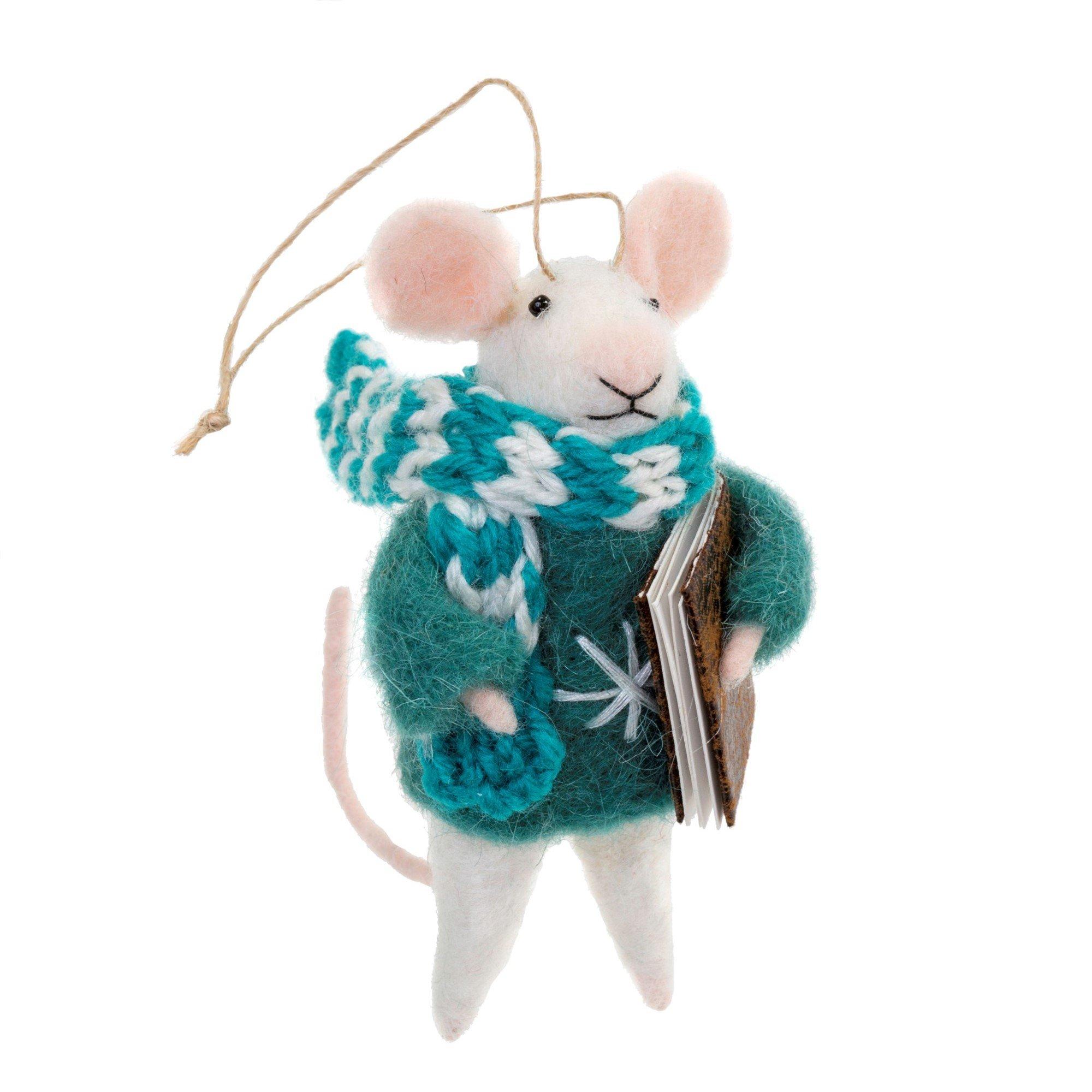 Indaba Caroling Carl Felt Mouse Ornament