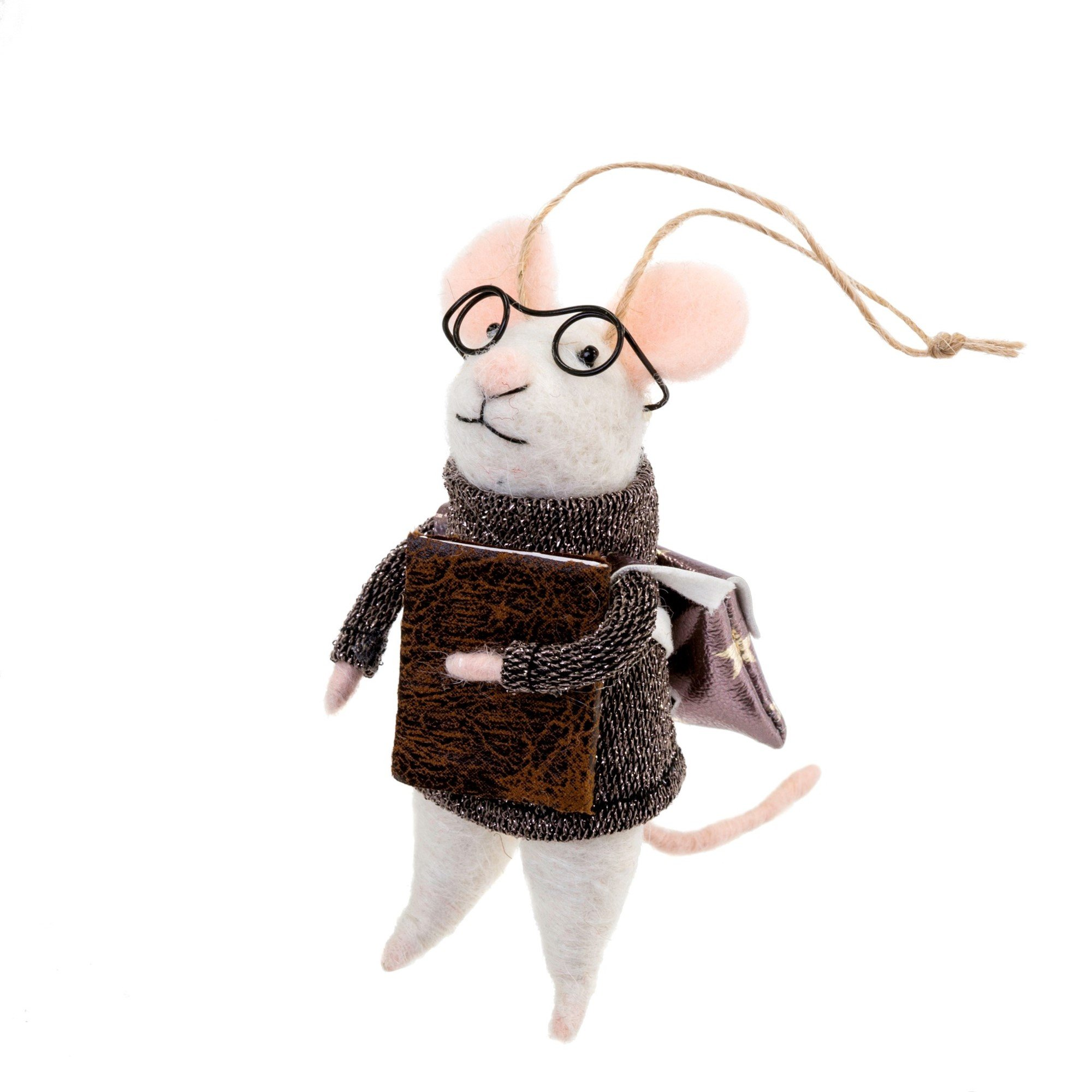 Indaba Biblio Bob Felt Mouse Ornament