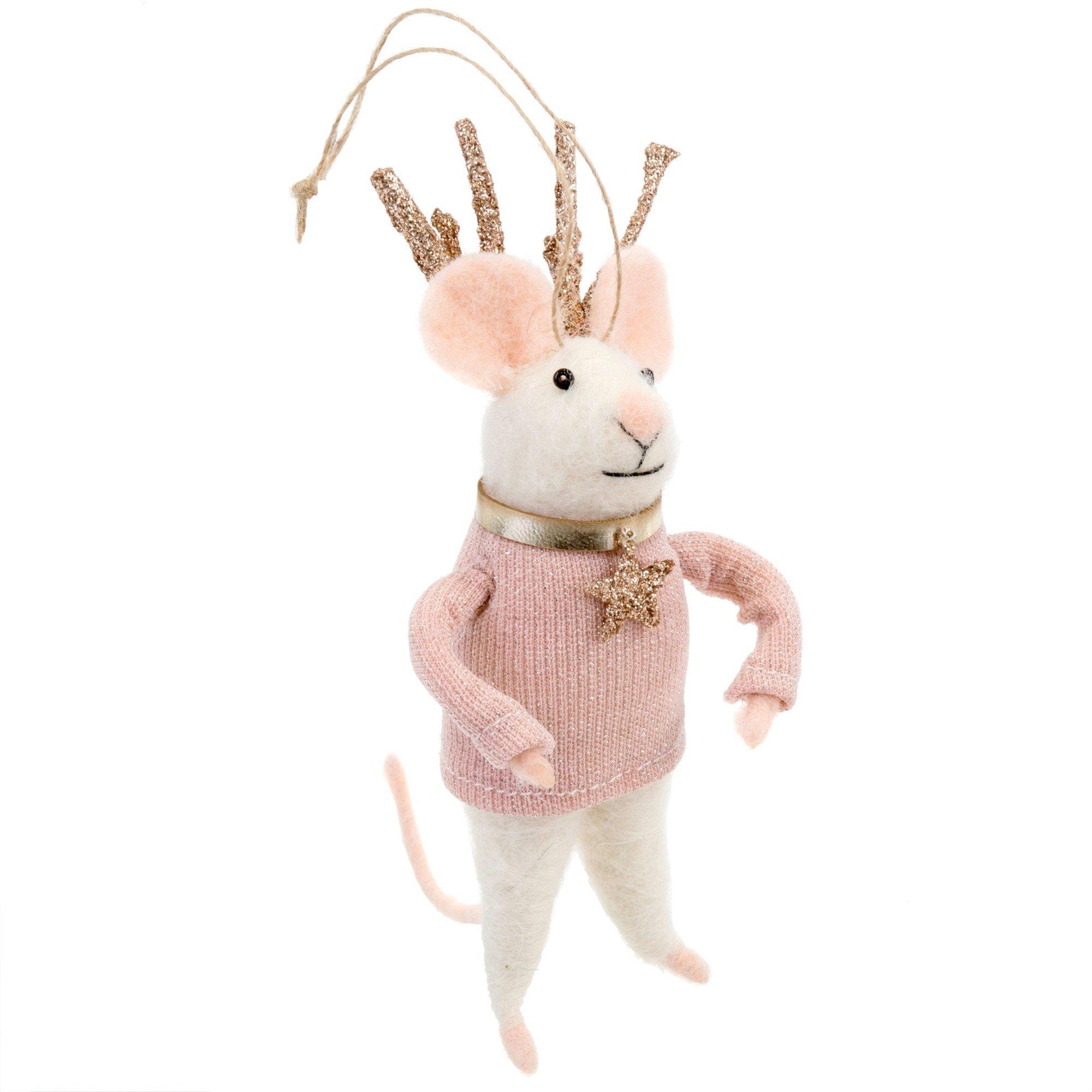 Indaba Miss Blitzen Felt Mouse Ornament