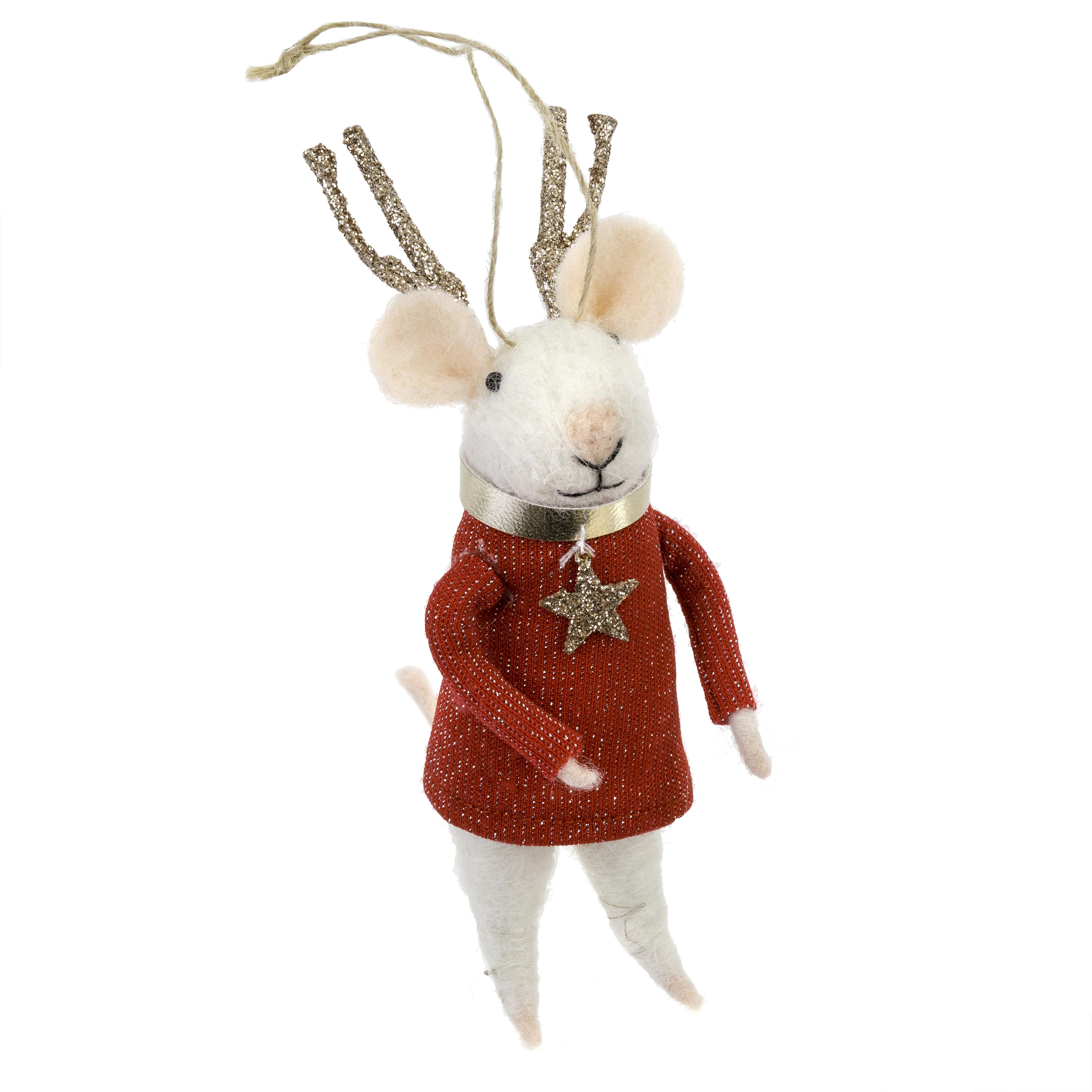 Indaba Reindeer Mouse Felt Mouse Ornament