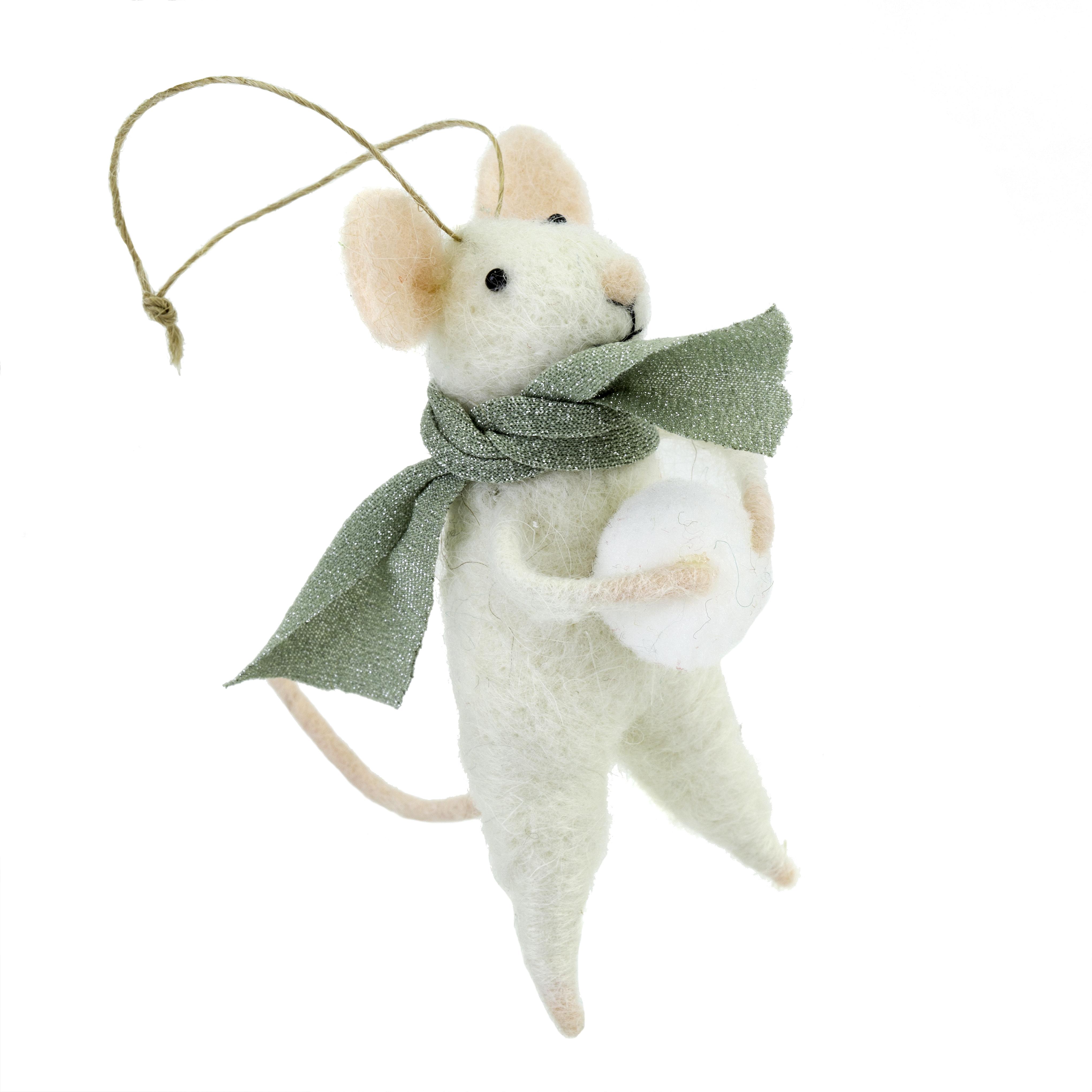 Indaba Snowball Sal Felt Mouse Ornament