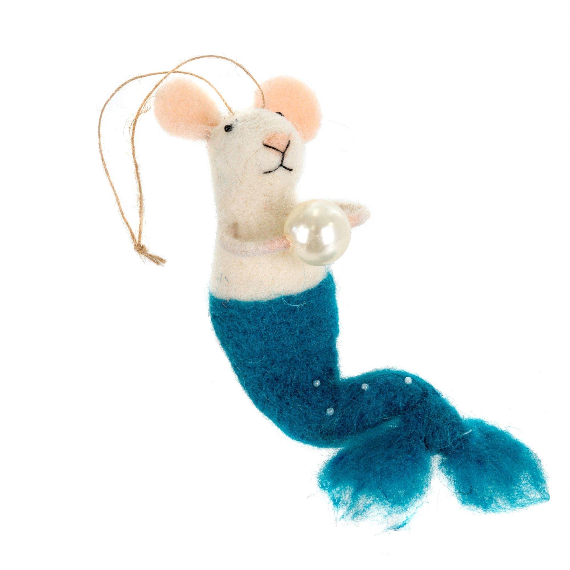 Indaba Mermaid Felt Mouse Ornament