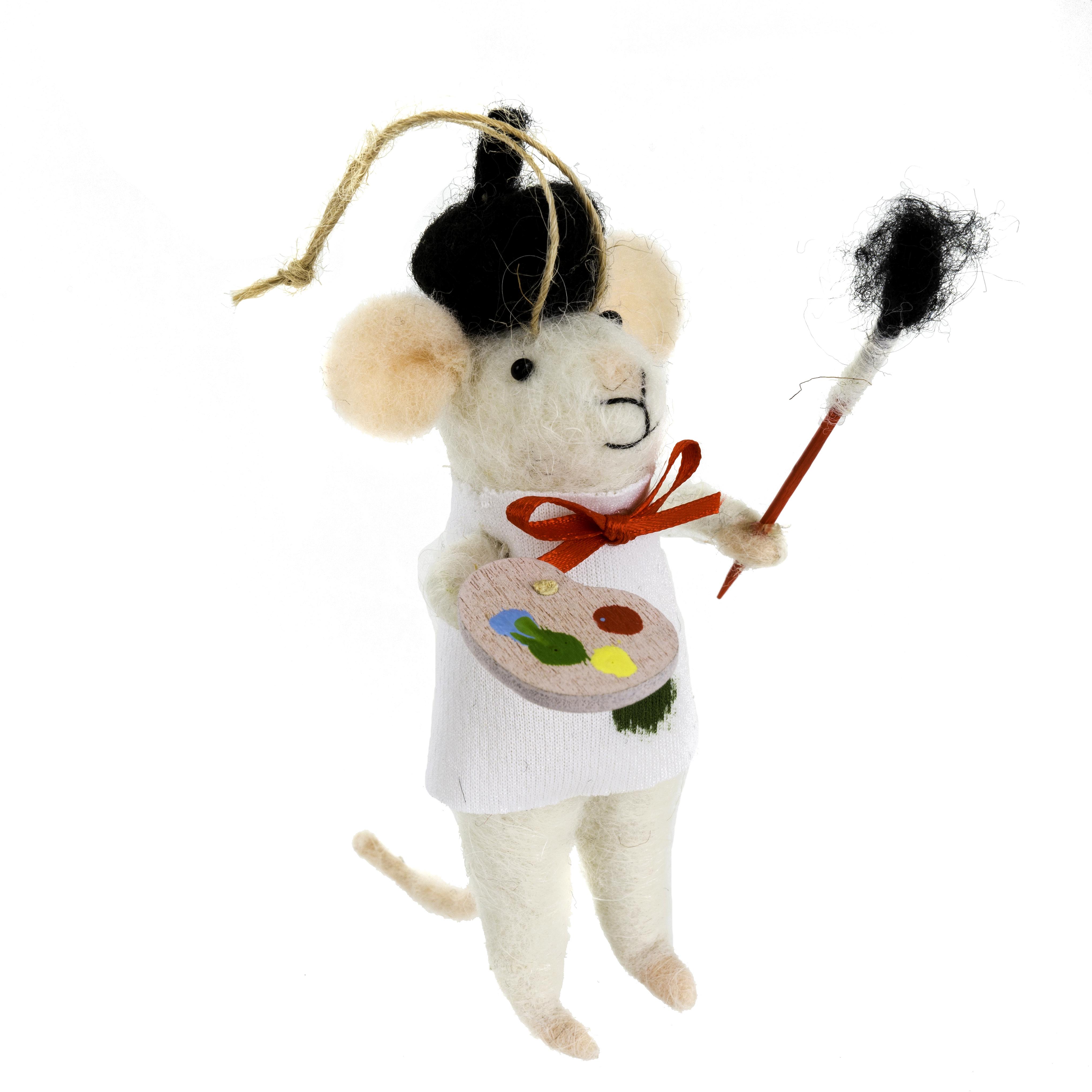 Indaba Andre Artiste Felt Mouse Ornament