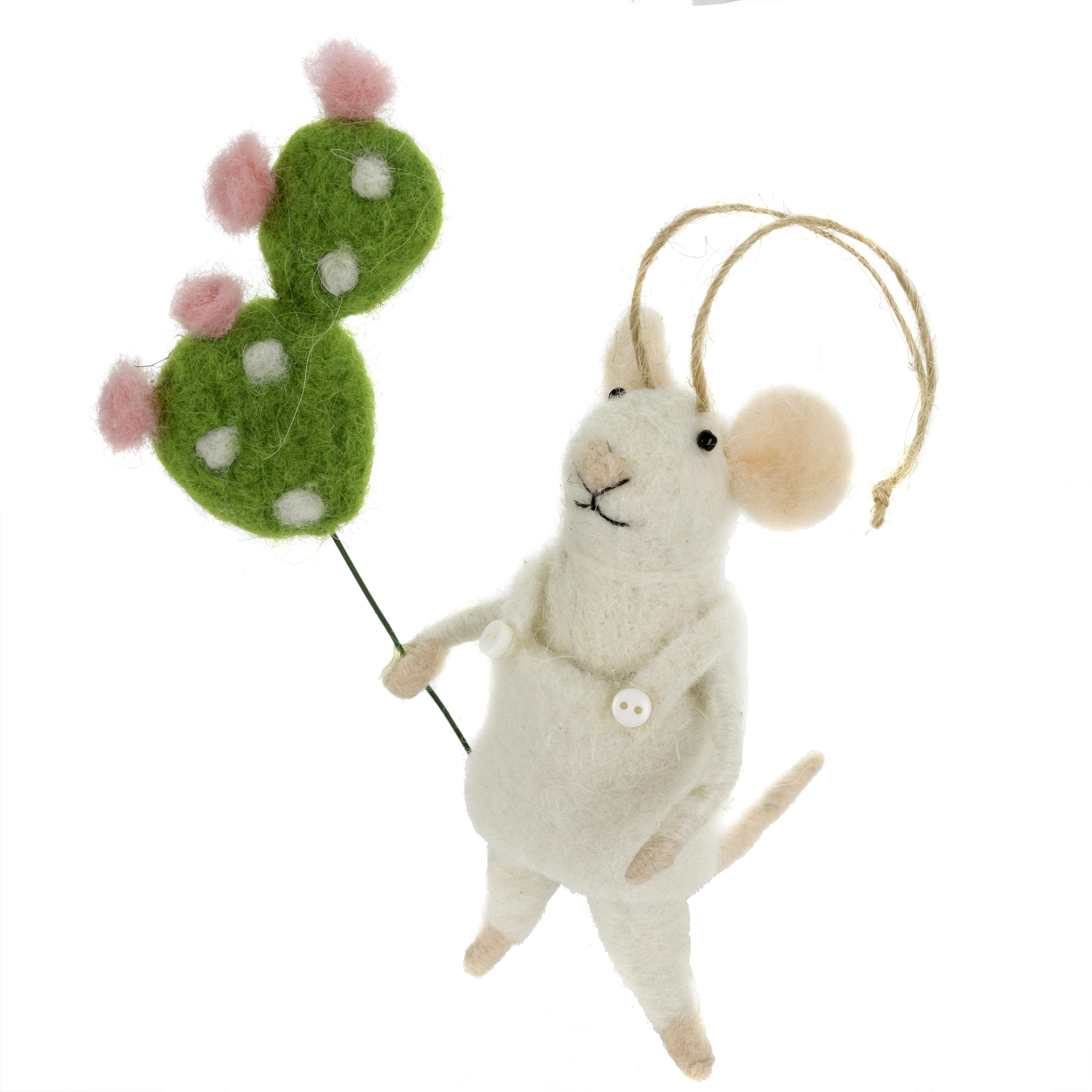 Indaba Cactus Rosa Felt Mouse Ornament