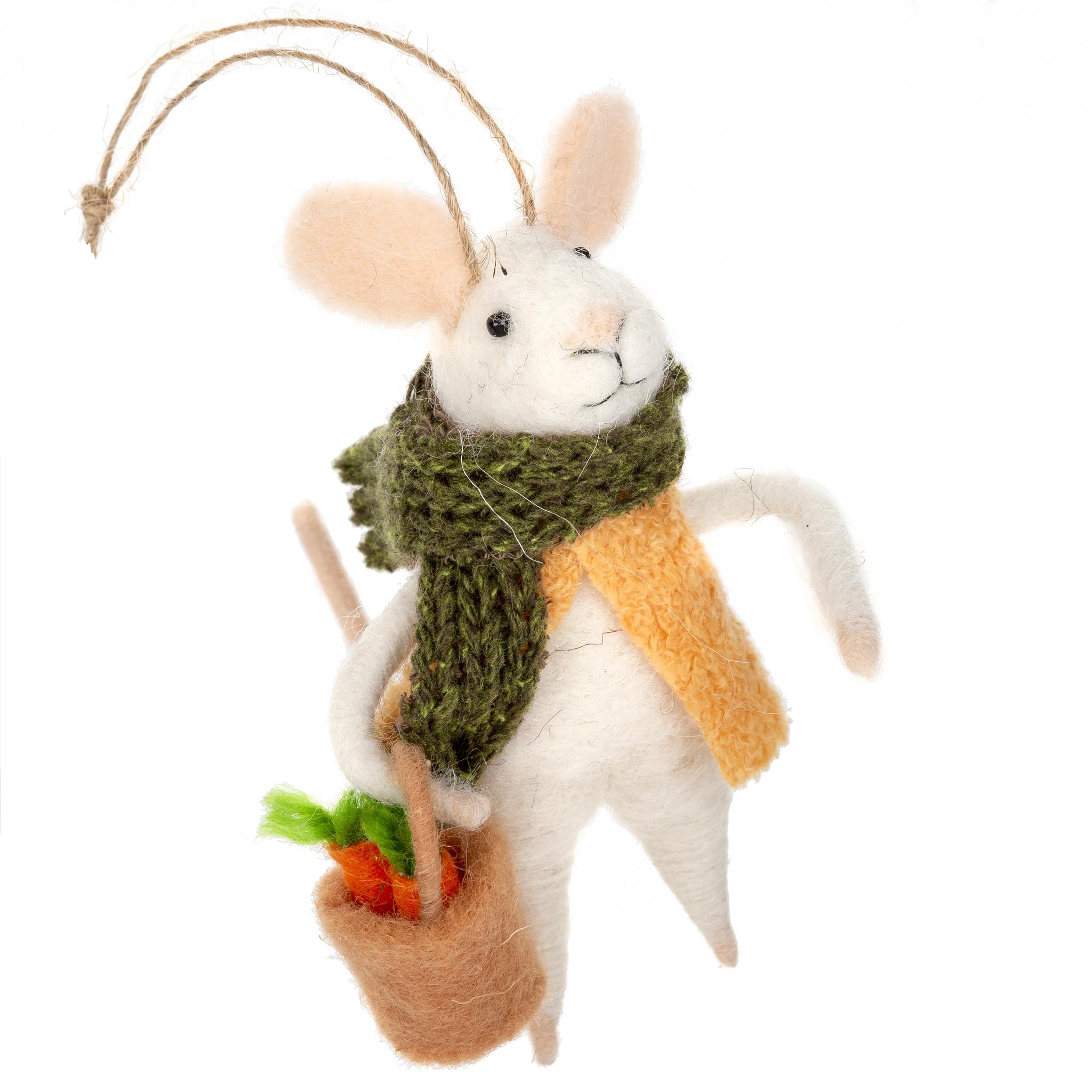Indaba Farmer's Market Fiona Felt Mouse Ornament