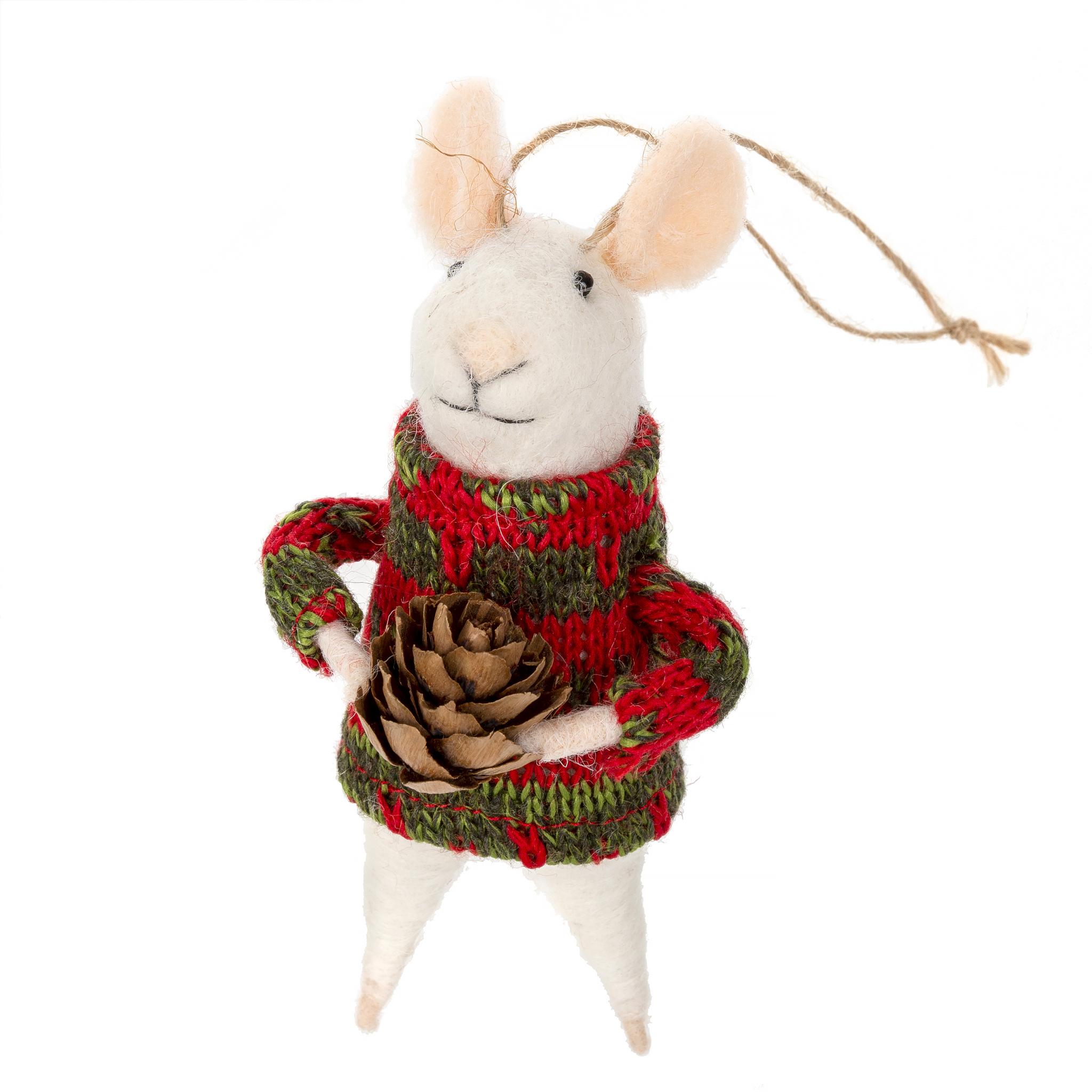 Indaba Sitka Solomon Felt Mouse Ornament