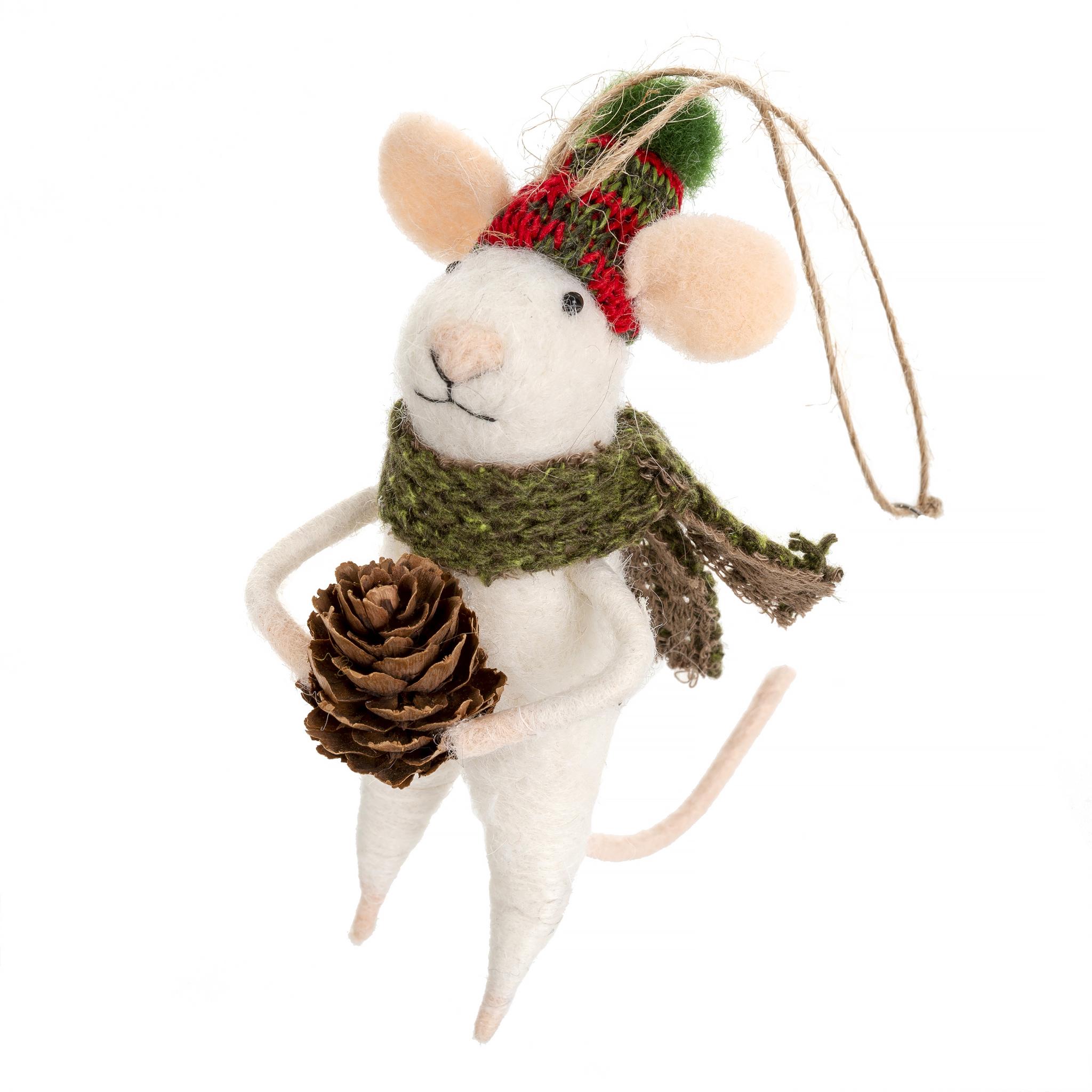 Indaba Forrester Frank Felt Mouse Ornament