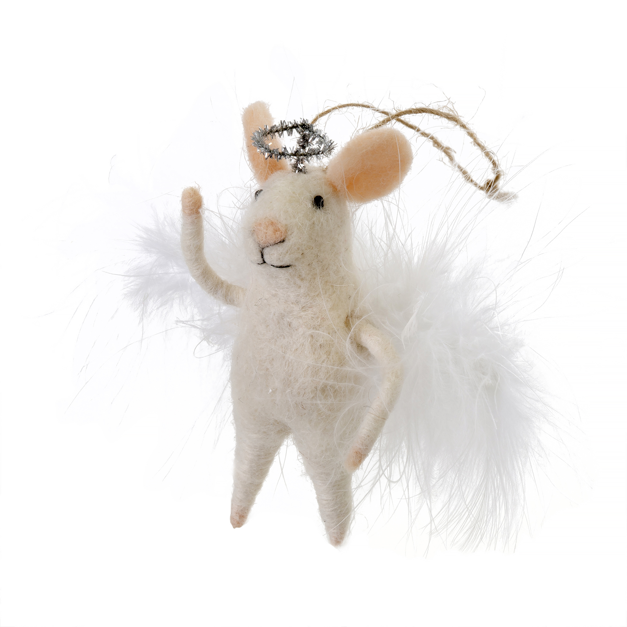 Indaba Angelic Annie Felt Mouse Ornament