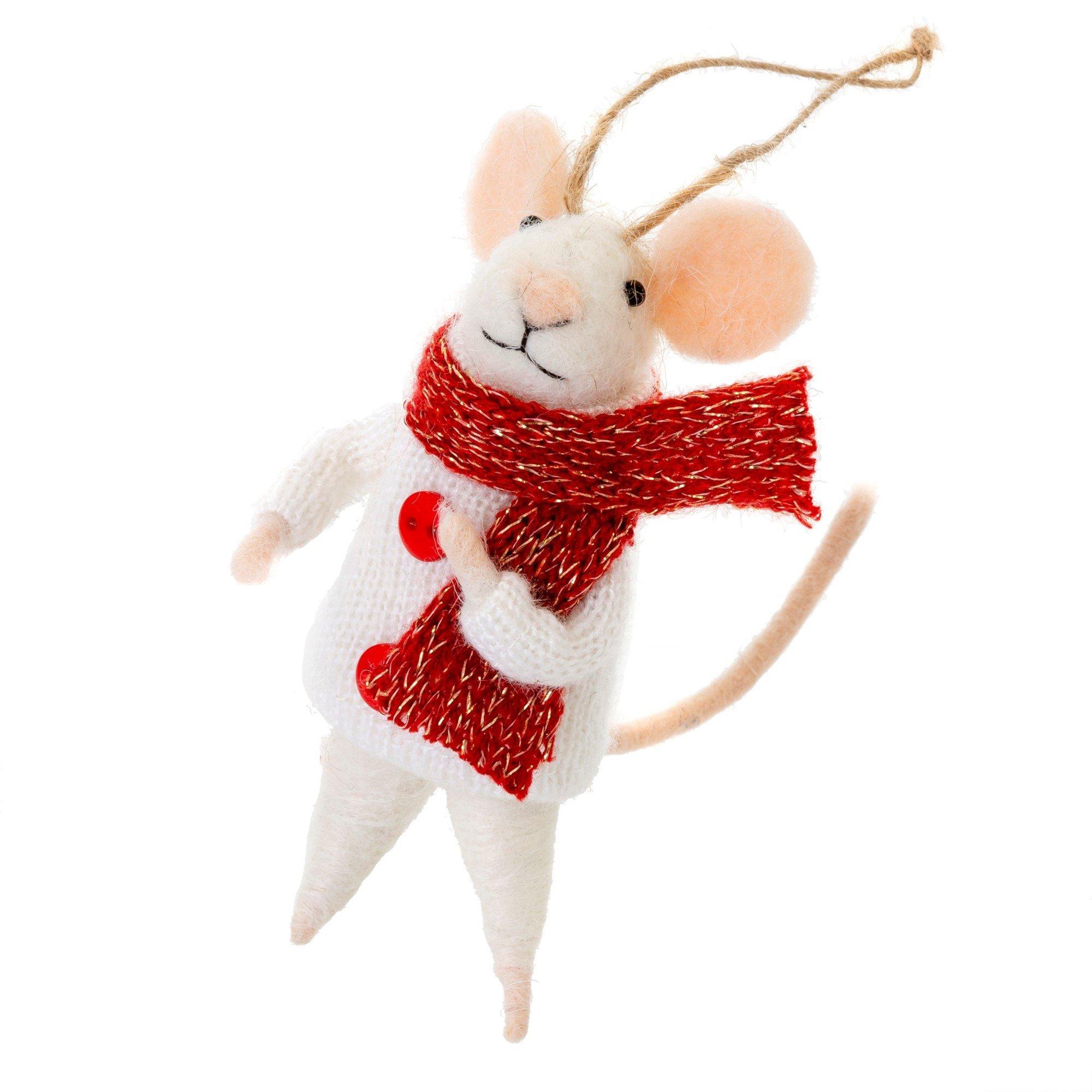 Indaba Outdoor Oscar Felt Mouse Ornament
