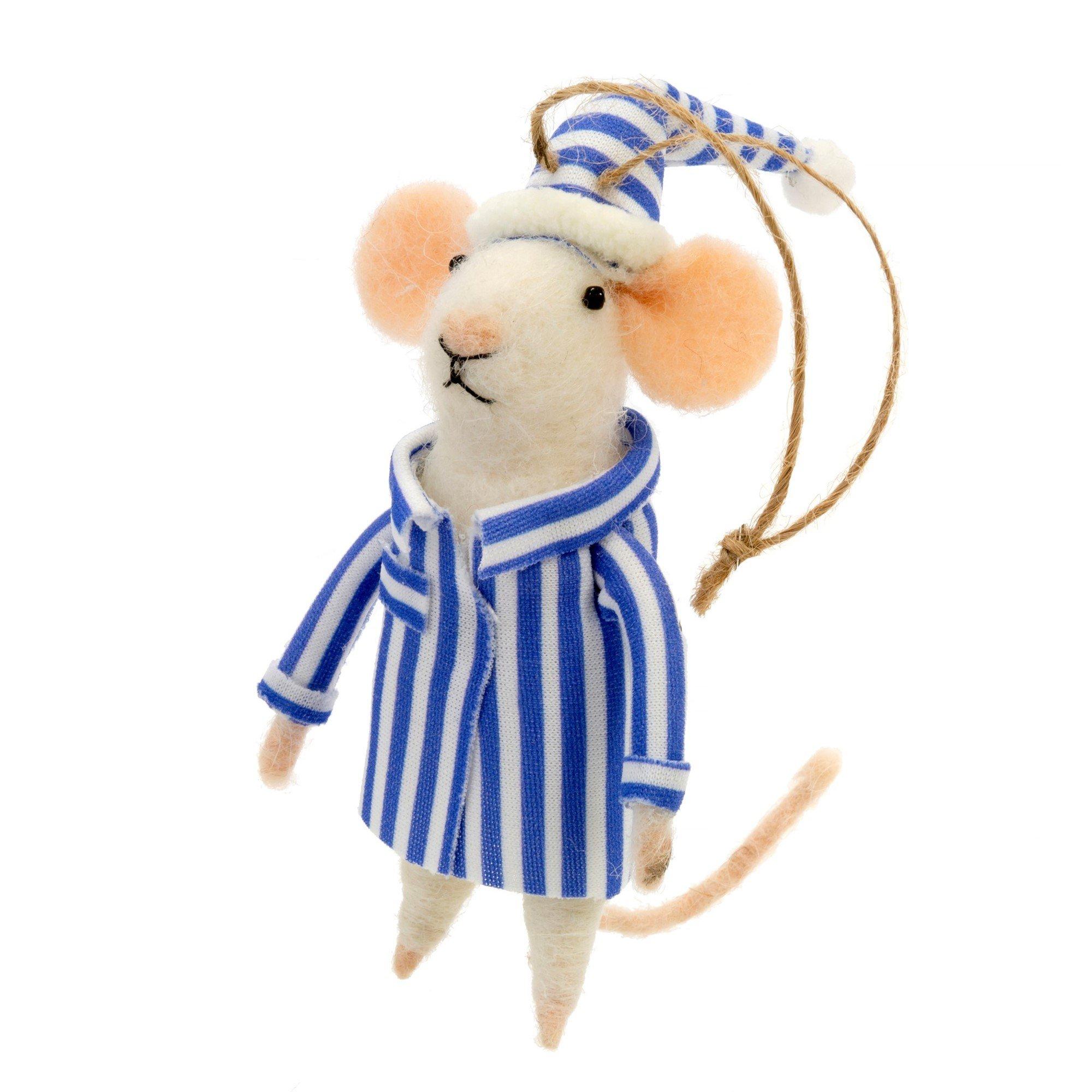 Indaba Night Before Xmas Ned Felt MouseOrnament