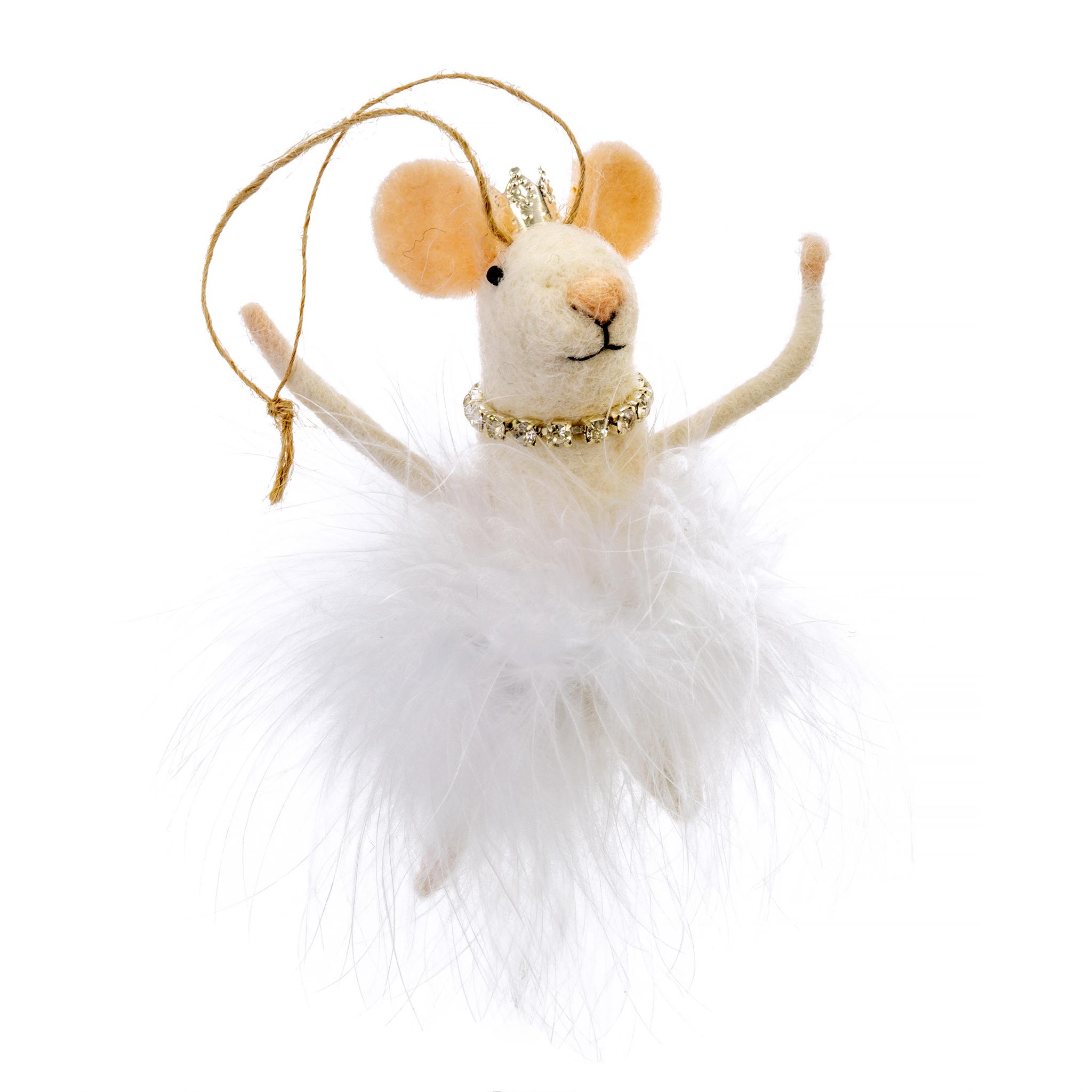 Indaba White Swan Felt Mouse Ornament
