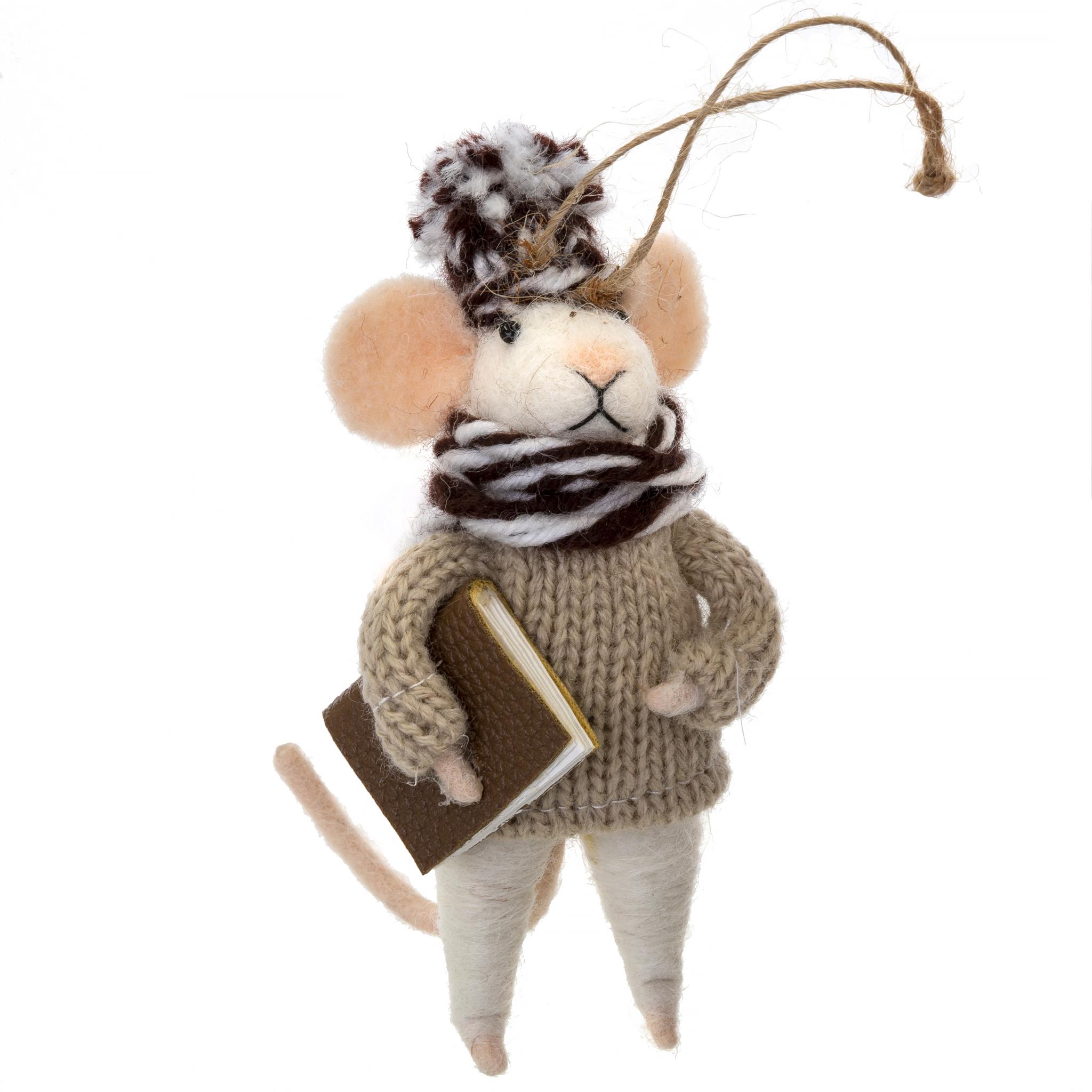 Indaba Studious Stuart Felt Mouse Ornament