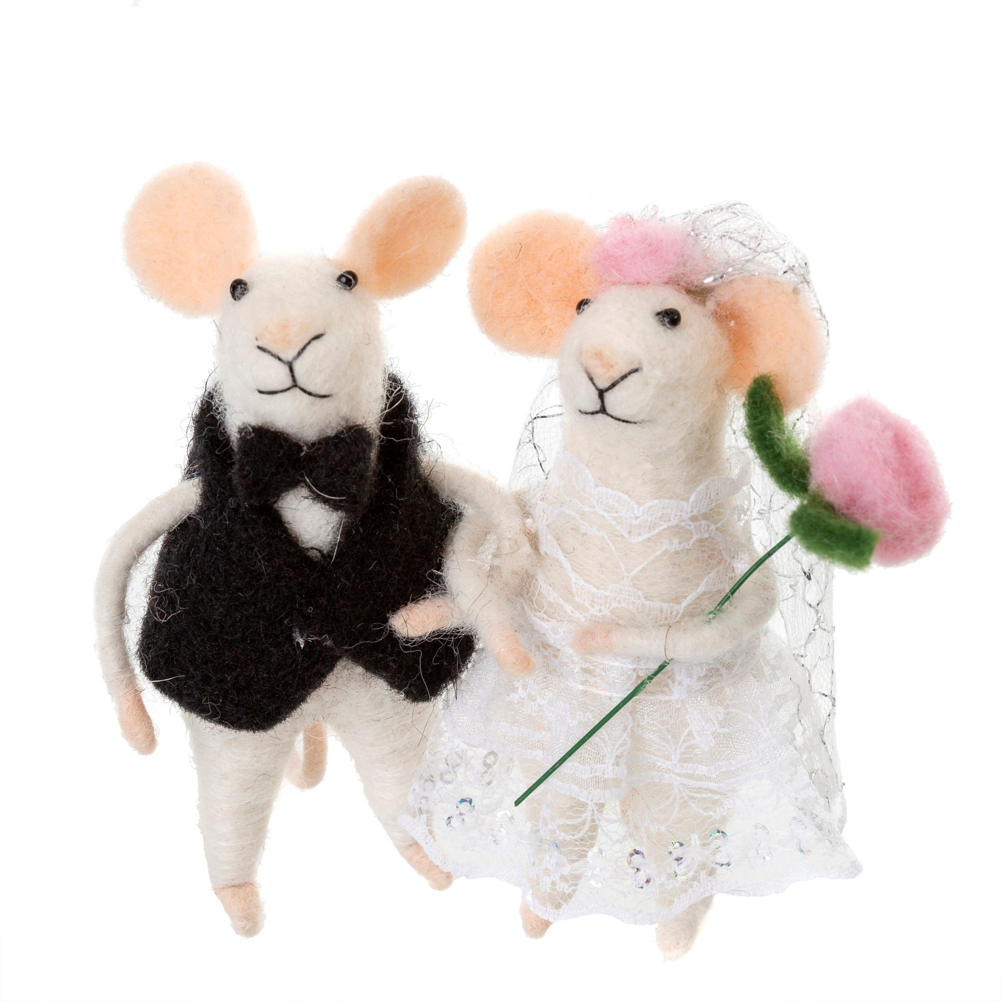 Indaba Newlywed Felt Mice Orn Ornament