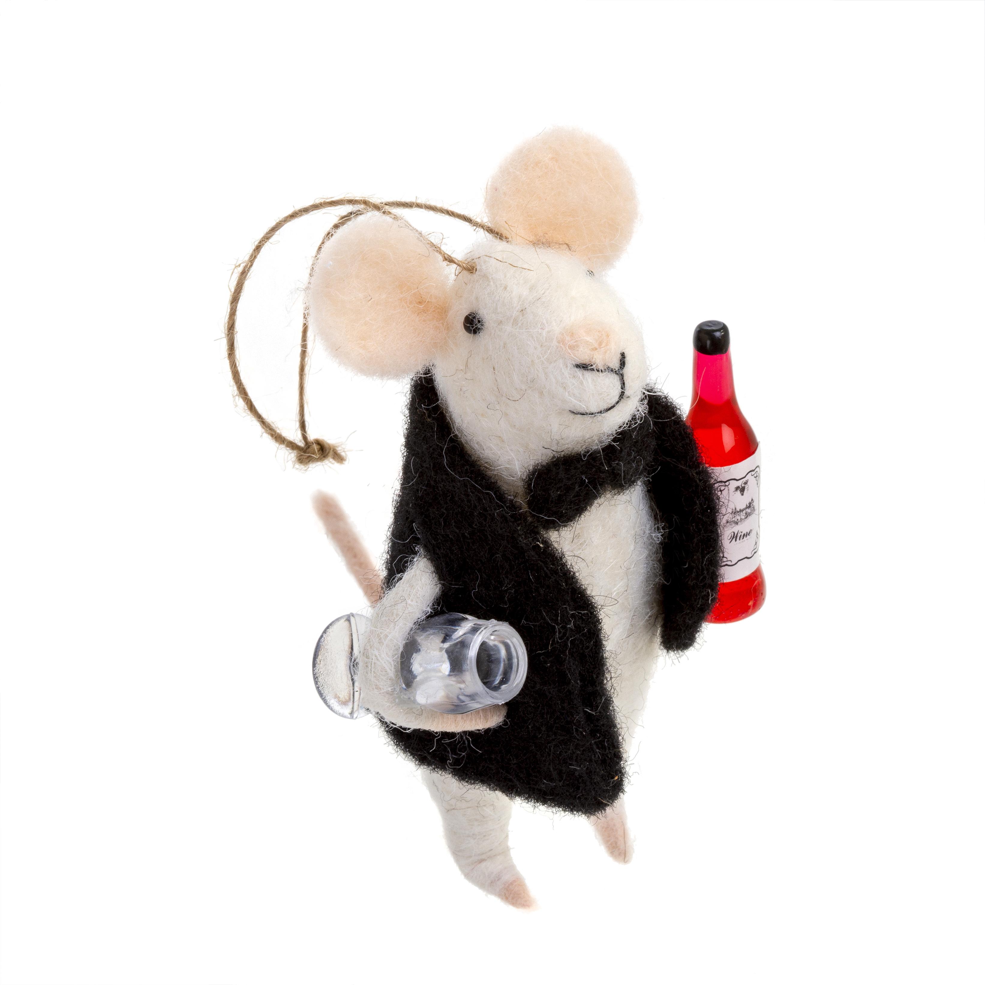 Indaba Sommelier Felt Mouse Ornament