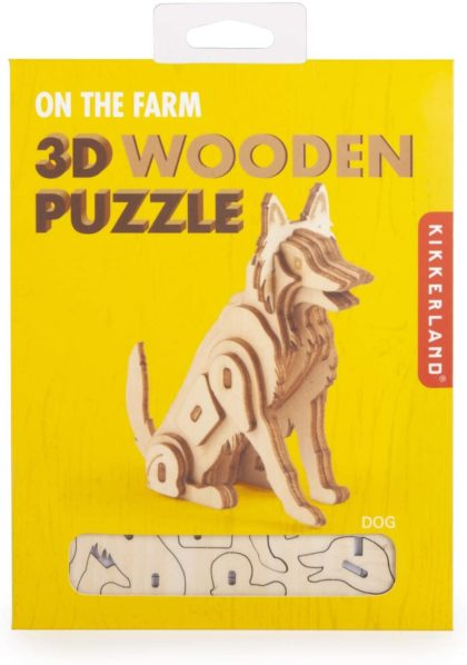 Go down to the grange with Kikkerland's Dog On the Farm Wooden Puzzle.