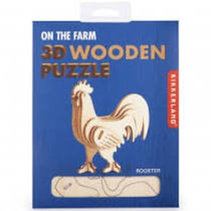 Take a trip down to the farm with this petite rooster three-dimensional wooden puzzle from Kikkerland.