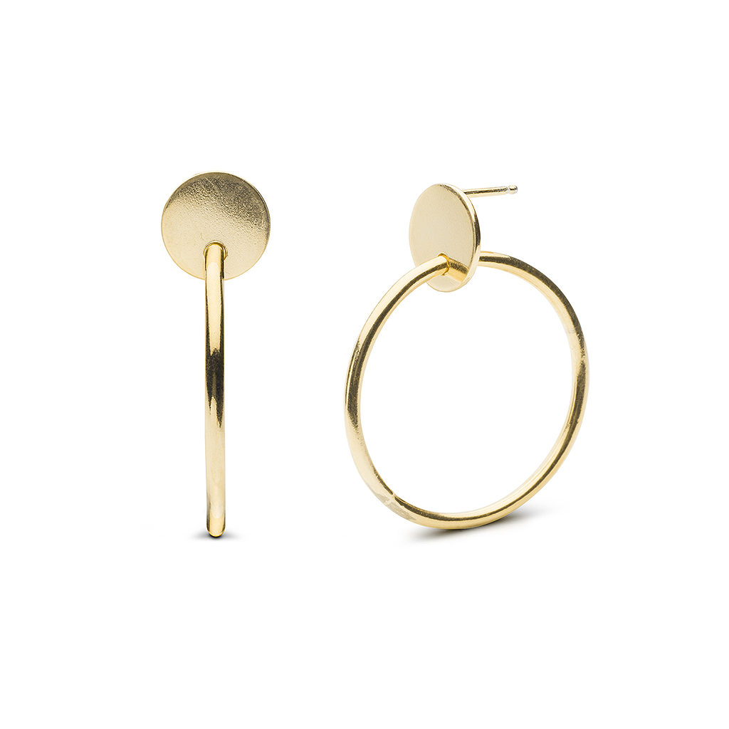 Kara Yoo Cassia Hoops Gold Plate Earrings