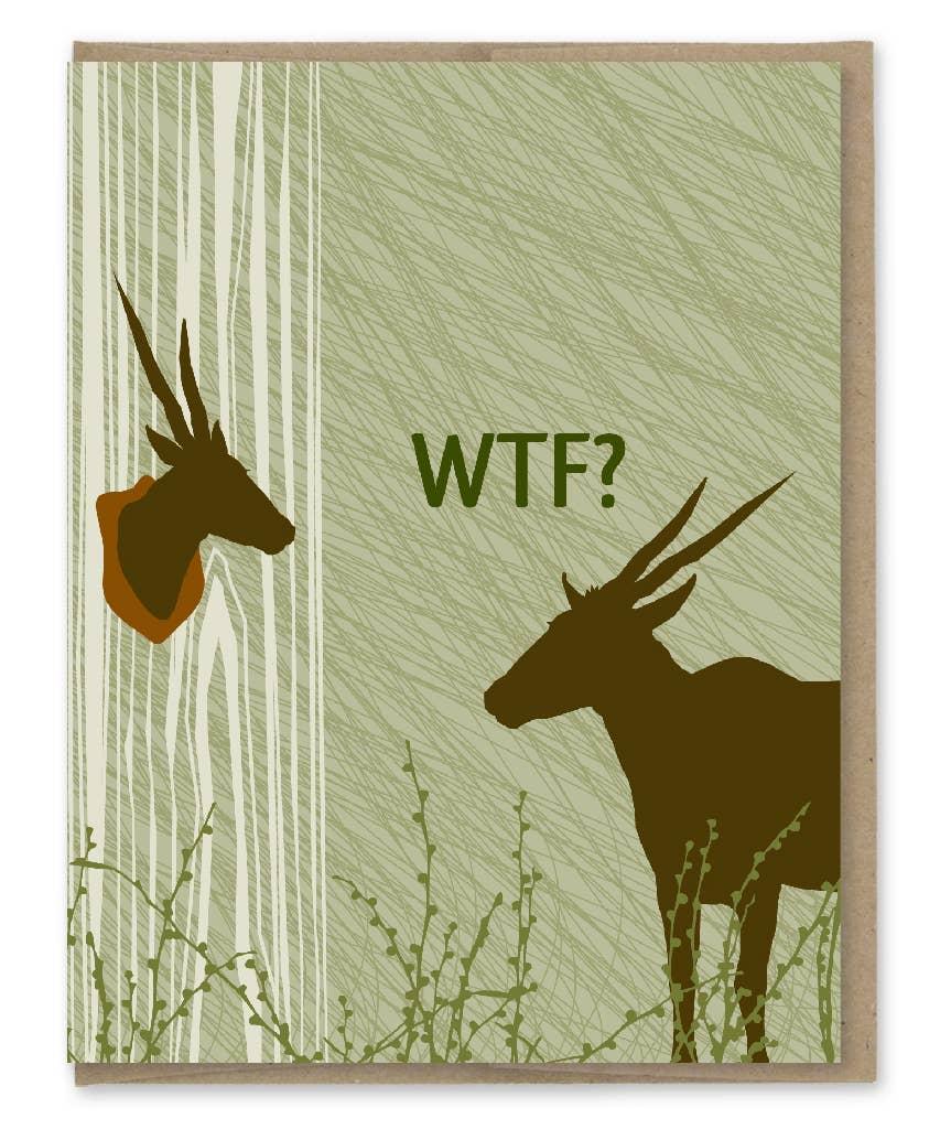 Modern Printed Matter Wtf Deer Trophy Greeting Card
