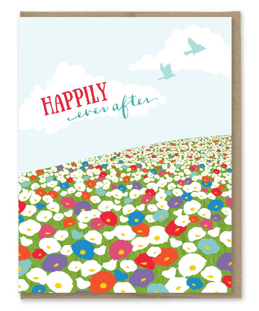 Modern Printed Matter Ever After Wildflower Field Wedding Greeting Card