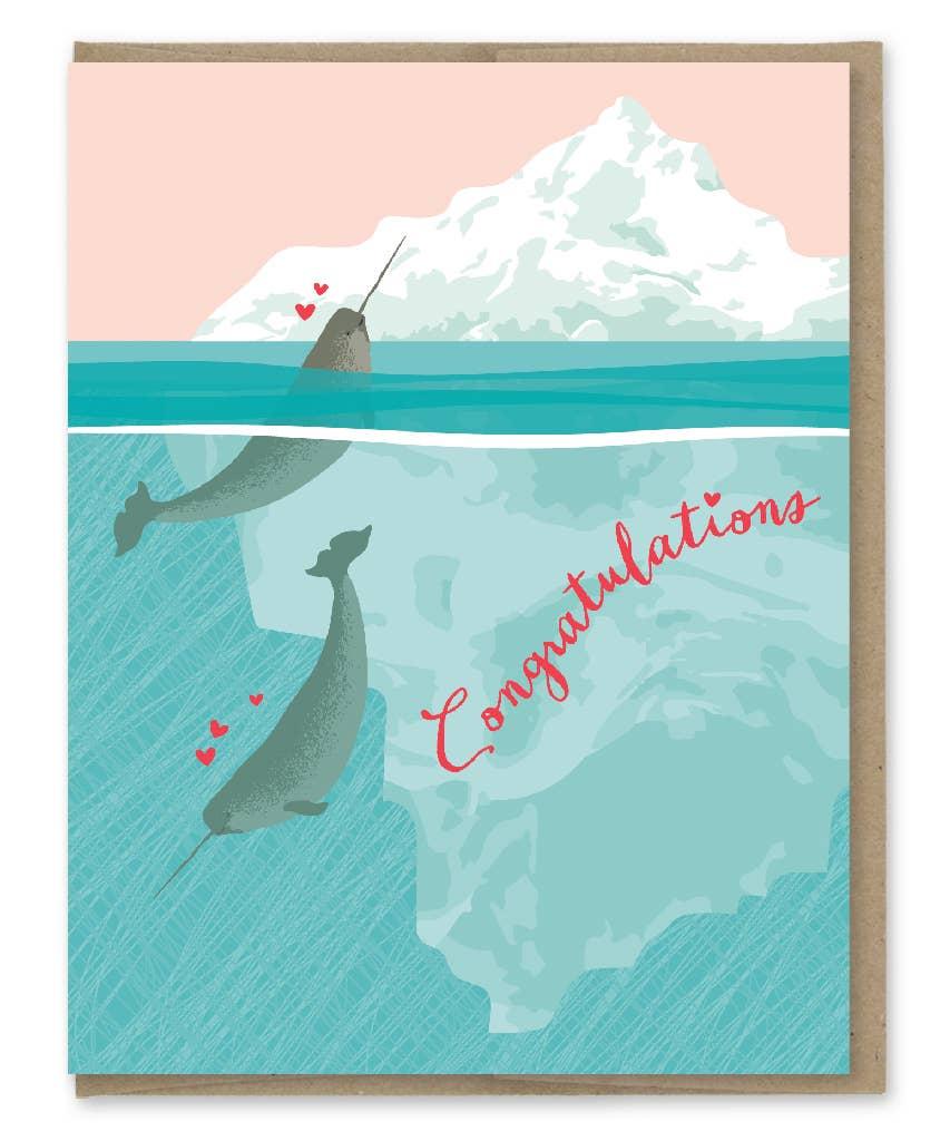 Modern Printed Matter Narwhal Freaks Wedding Greeting Card