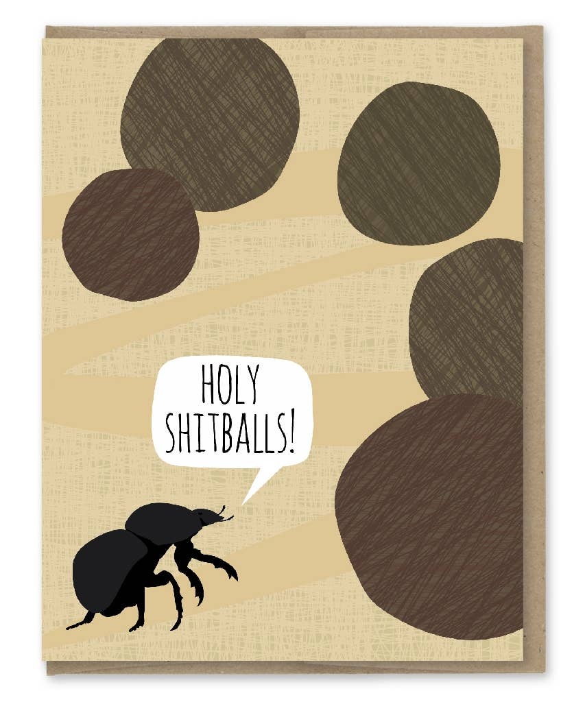 Modern Printed Matter Holy Shitballs Dung Beetle Congrats Greeting Card
