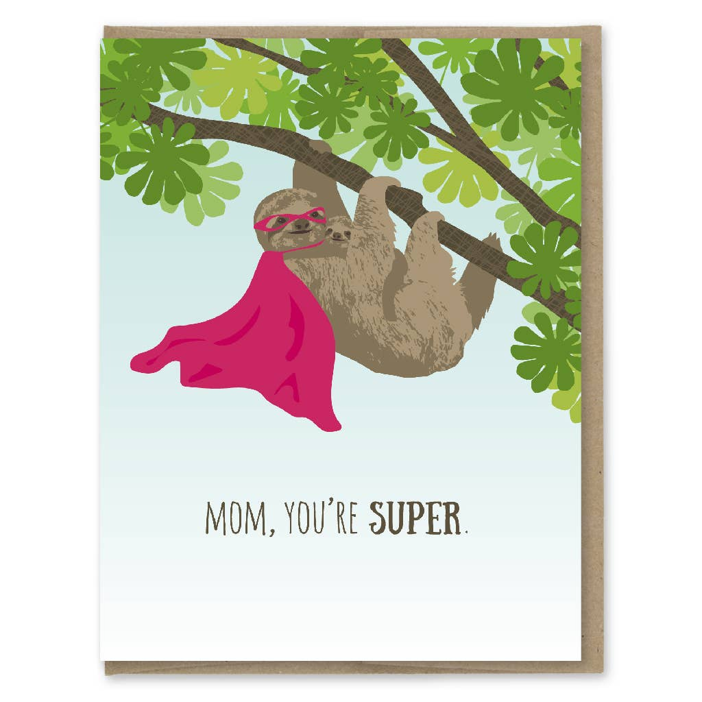 Modern Printed Matter Super Mom Sloth Greeting Card