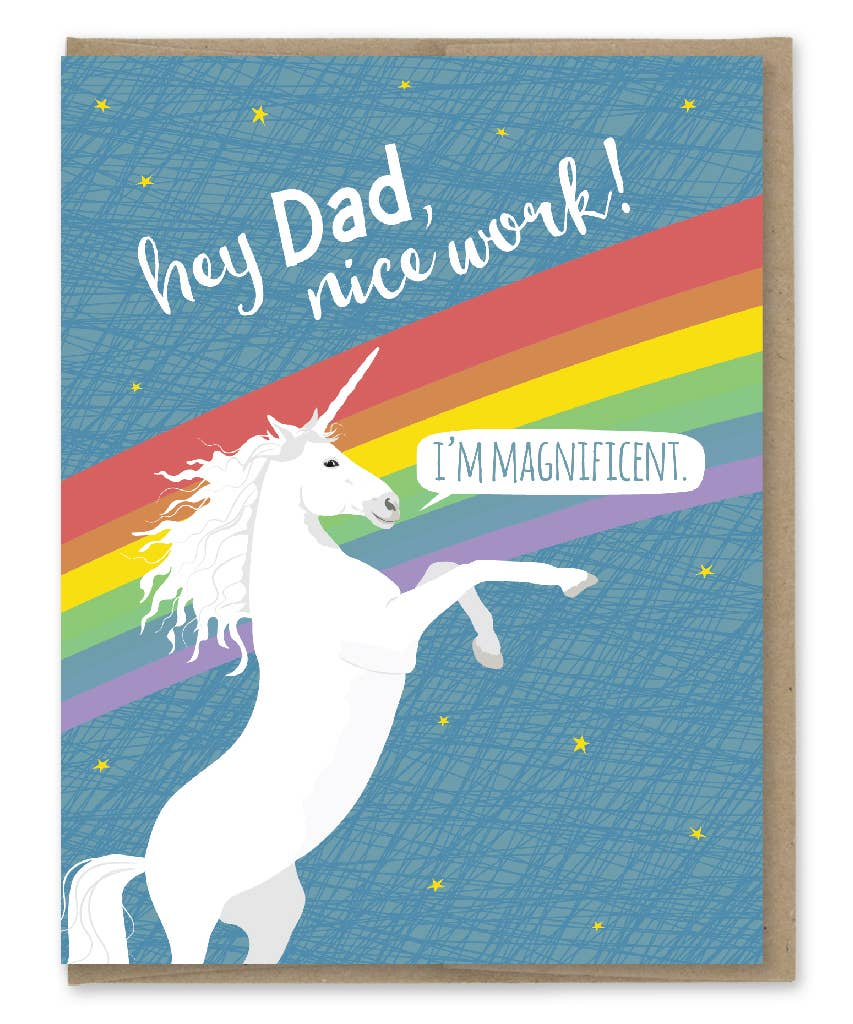 Modern Printed Matter Dad Magnificent Unicorn Greeting Card