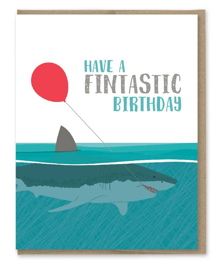 Modern Printed Matter Fintastic Shark Birthday Greeting Card