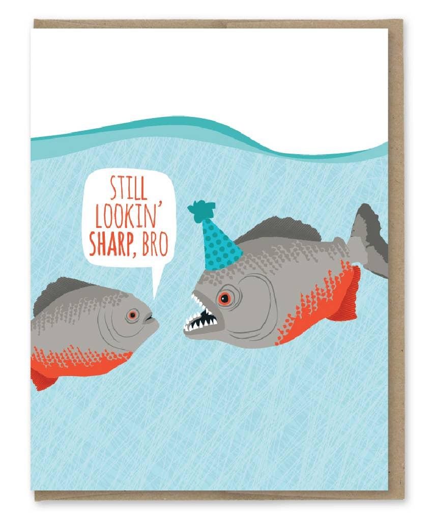 Modern Printed Matter Lookin' Sharp Piranhas Birthday Greeting Card